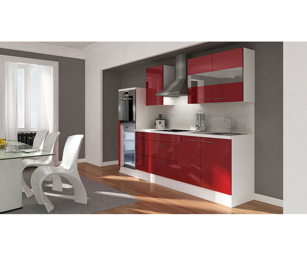 respekta premium einbau leerzeile k che k chenleerblock 270 cm weiss chili rot ebay. Black Bedroom Furniture Sets. Home Design Ideas