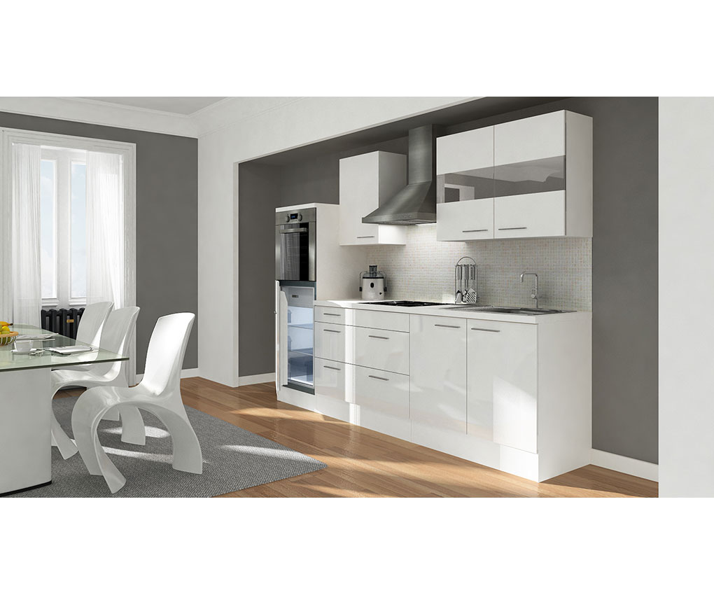 respekta premium k che k chenleerzeile k chenleerblock leerblock 270 cm weiss ebay. Black Bedroom Furniture Sets. Home Design Ideas