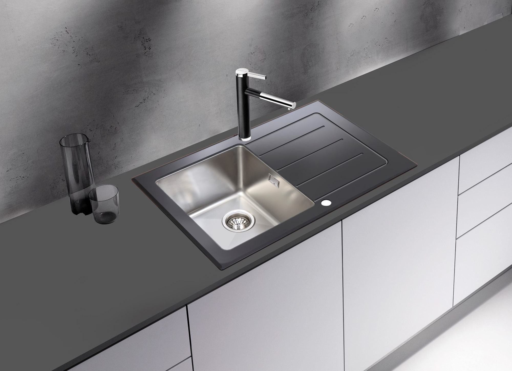 Glass Sink Unit : Details about respekta Glass sink Unit, Built-in New York 86x50 black ...