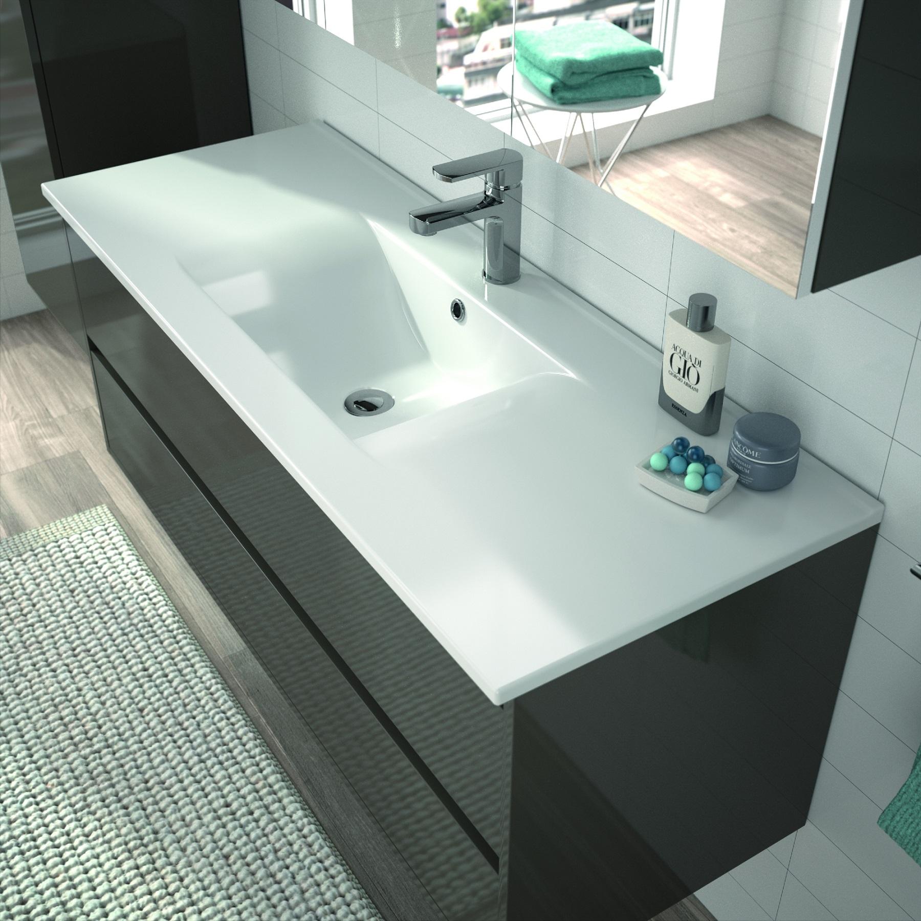 allibert badm bel badm belset vormontiert grau glanz spiegel waschtisch 120 cm 4260458244647 ebay. Black Bedroom Furniture Sets. Home Design Ideas
