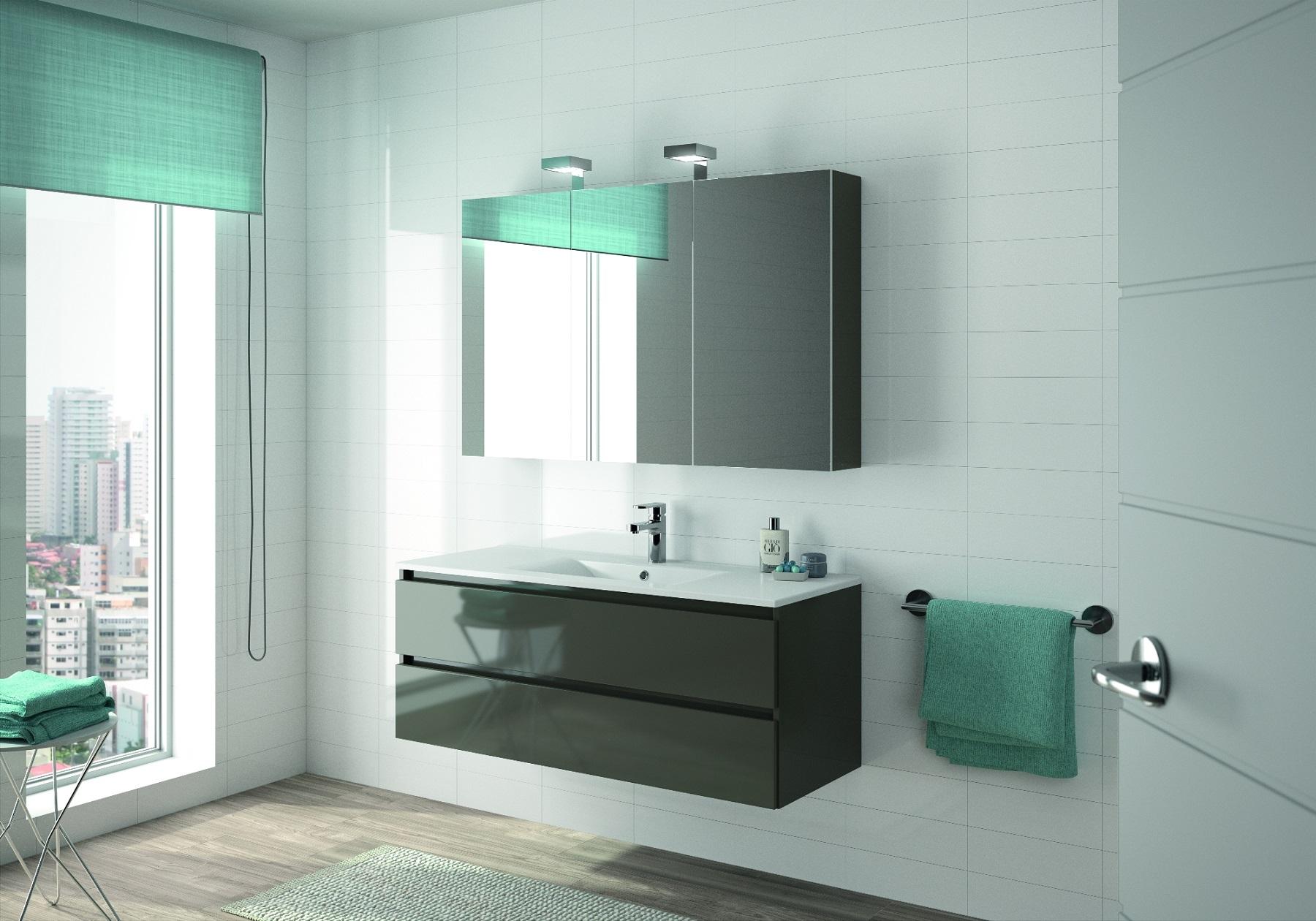 Allibert mobili da bagno set pre assemblati grigio lucido specchio
