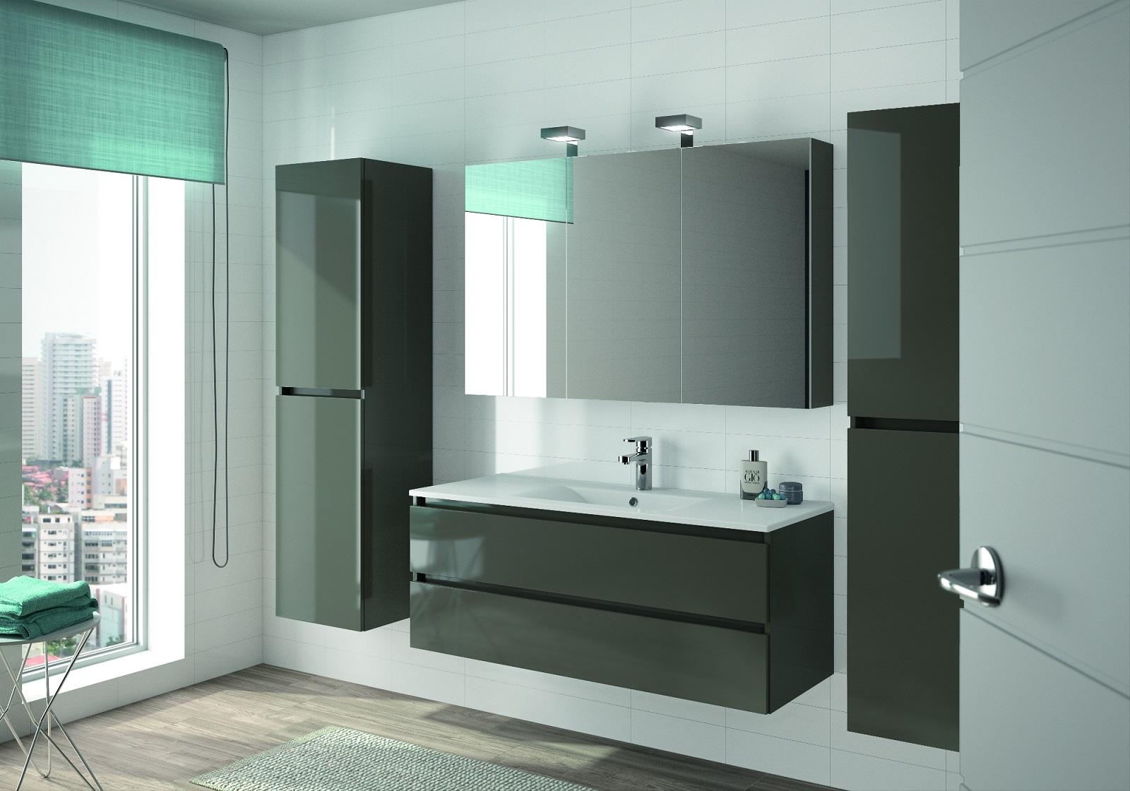 allibert badm bel badm belset vormontiert grau glanz spiegel waschtisch 120 cm ebay. Black Bedroom Furniture Sets. Home Design Ideas