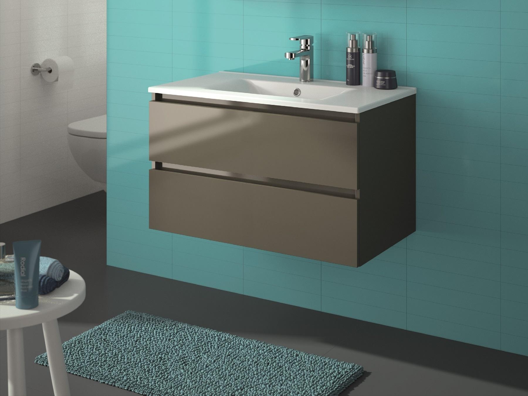 allibert badm bel set badm bel vormontiert grau glanz softclose waschtisch 80 cm ebay. Black Bedroom Furniture Sets. Home Design Ideas