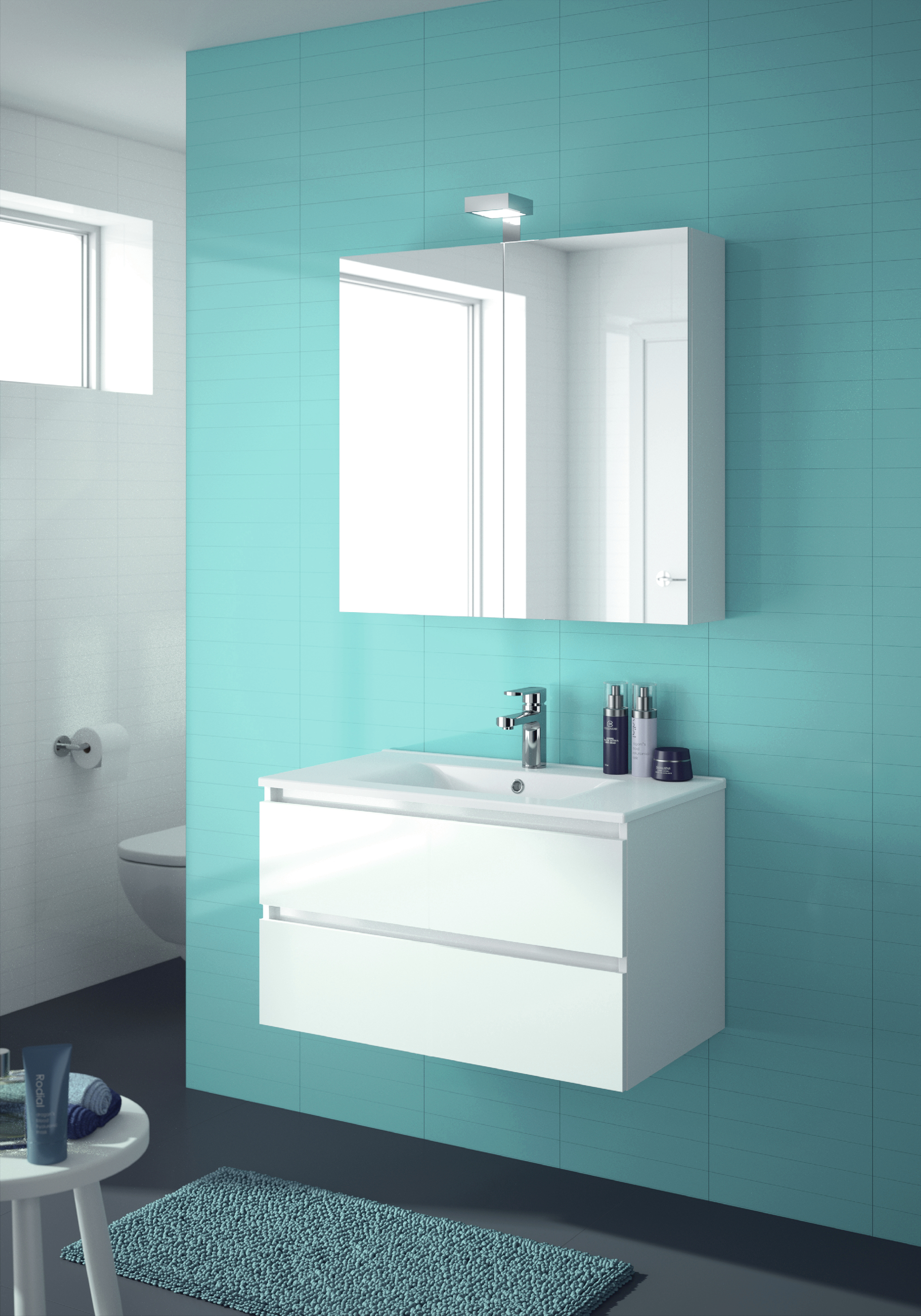 allibert badm bel badm belset vormontiert wei spiegelschrank waschtisch 80 cm 4260458244616 ebay. Black Bedroom Furniture Sets. Home Design Ideas