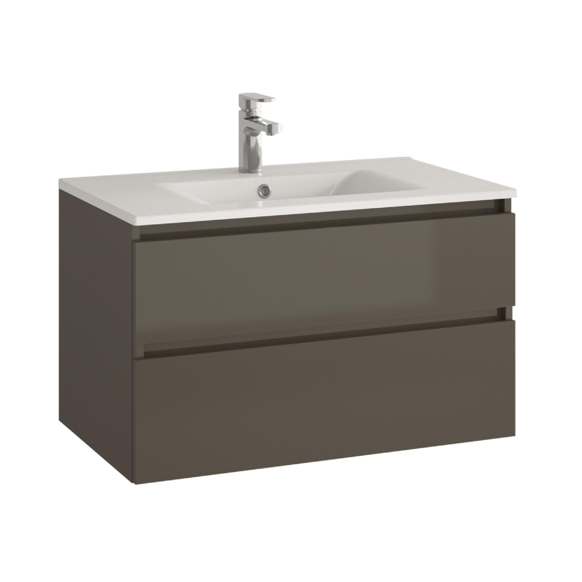allibert badm bel badm belset vormontiert grau spiegelschrank waschtisch 80 cm ebay. Black Bedroom Furniture Sets. Home Design Ideas