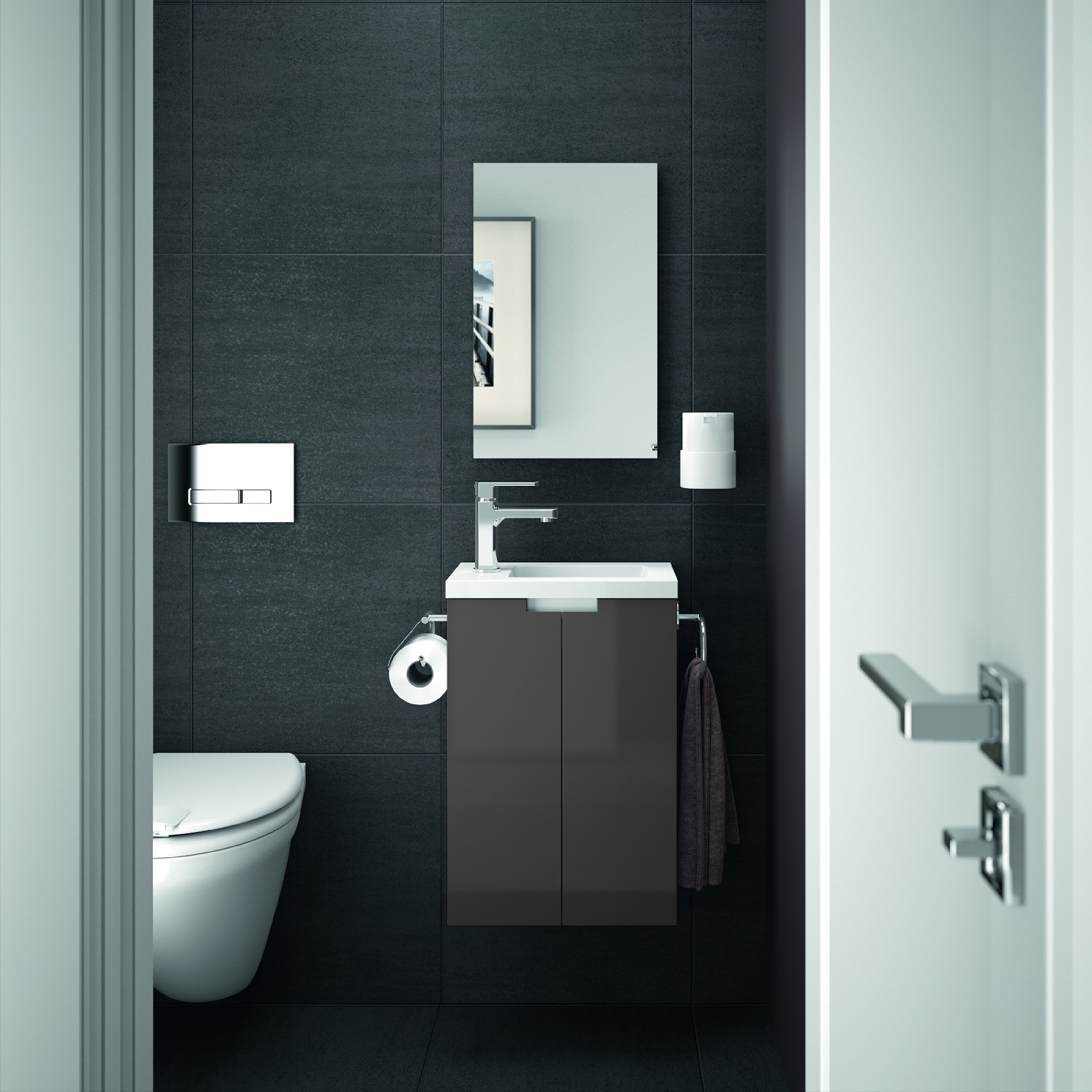 allibert meuble de salle de bain invit s toilettes set pr assembl blanc gris ebay. Black Bedroom Furniture Sets. Home Design Ideas