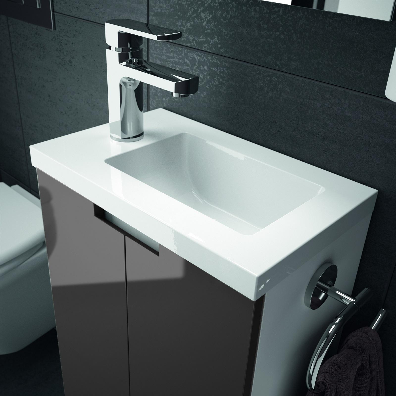 Details zu Badmöbel Set 40 cm Waschbecken mit Unterschrank Gäste WC  vormontiert ALLIBERT