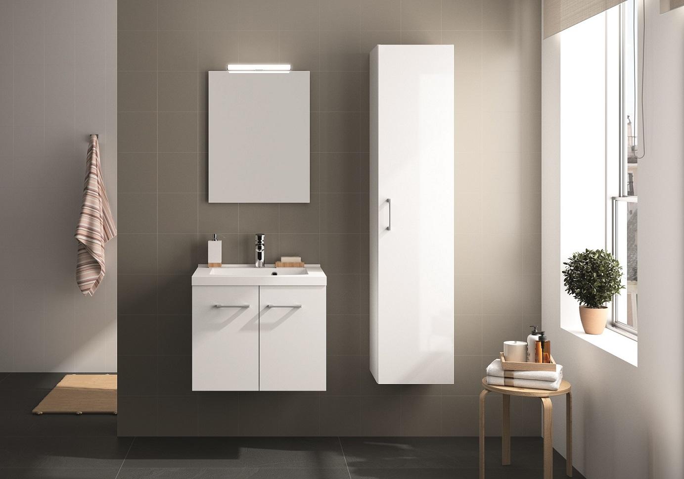 Mobili da bagno set per stanza lavabo bianco lucido 95 cm allibert