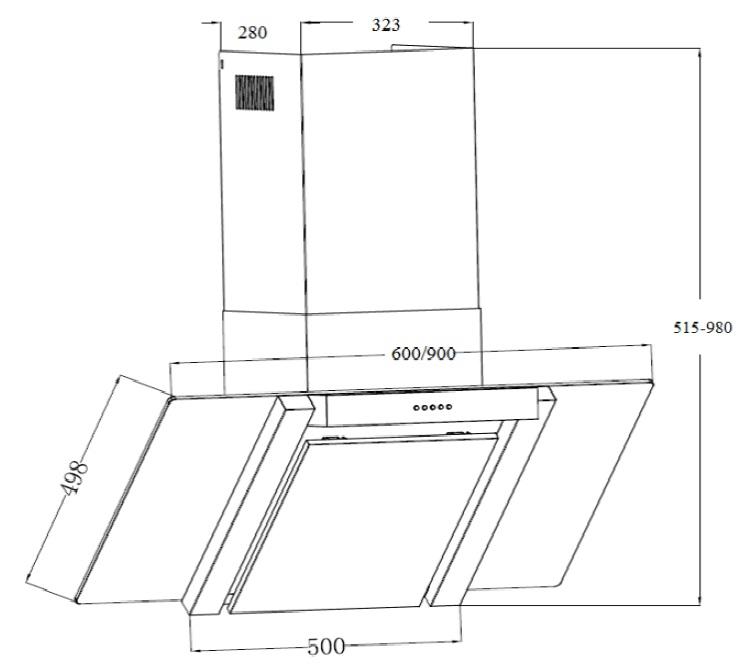 respekta dunstabzugshaube schr ghaube edelstahl glas 60 cm kopffrei ch22035ixa ebay. Black Bedroom Furniture Sets. Home Design Ideas