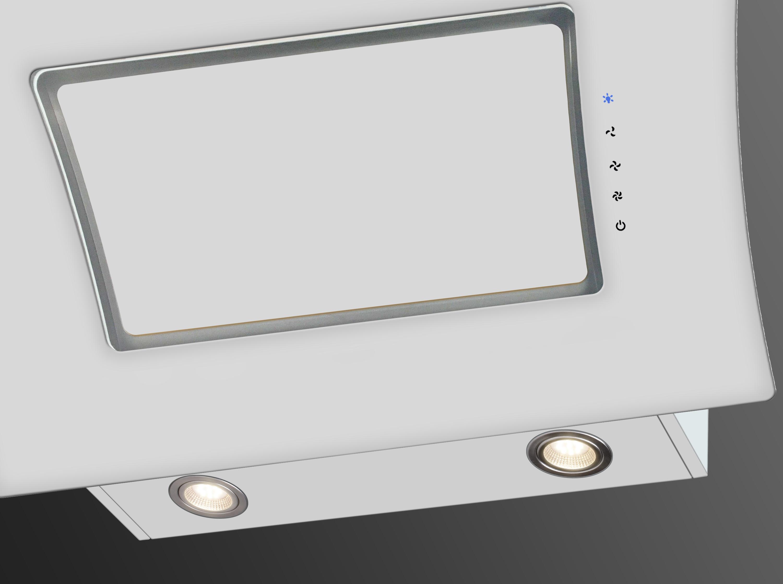 respekta kopffreie schr ghaube dunstabzugshaube glas 90 cm wei led touch eekl a ebay. Black Bedroom Furniture Sets. Home Design Ideas
