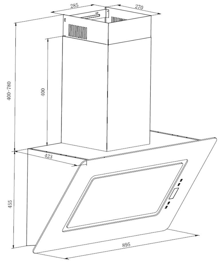 dunstabzugshaube schr ghaube wandhaube kopffrei 90 cm schwarz eekl a respekta ebay. Black Bedroom Furniture Sets. Home Design Ideas