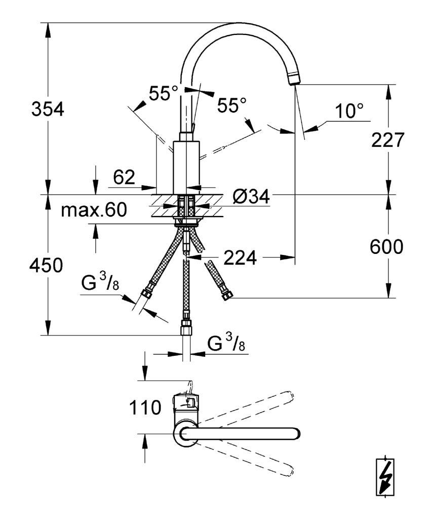 grohe eurosmart c einhand sp ltischbatterie k chenarmatur dn 15 31180000 chrom ebay. Black Bedroom Furniture Sets. Home Design Ideas