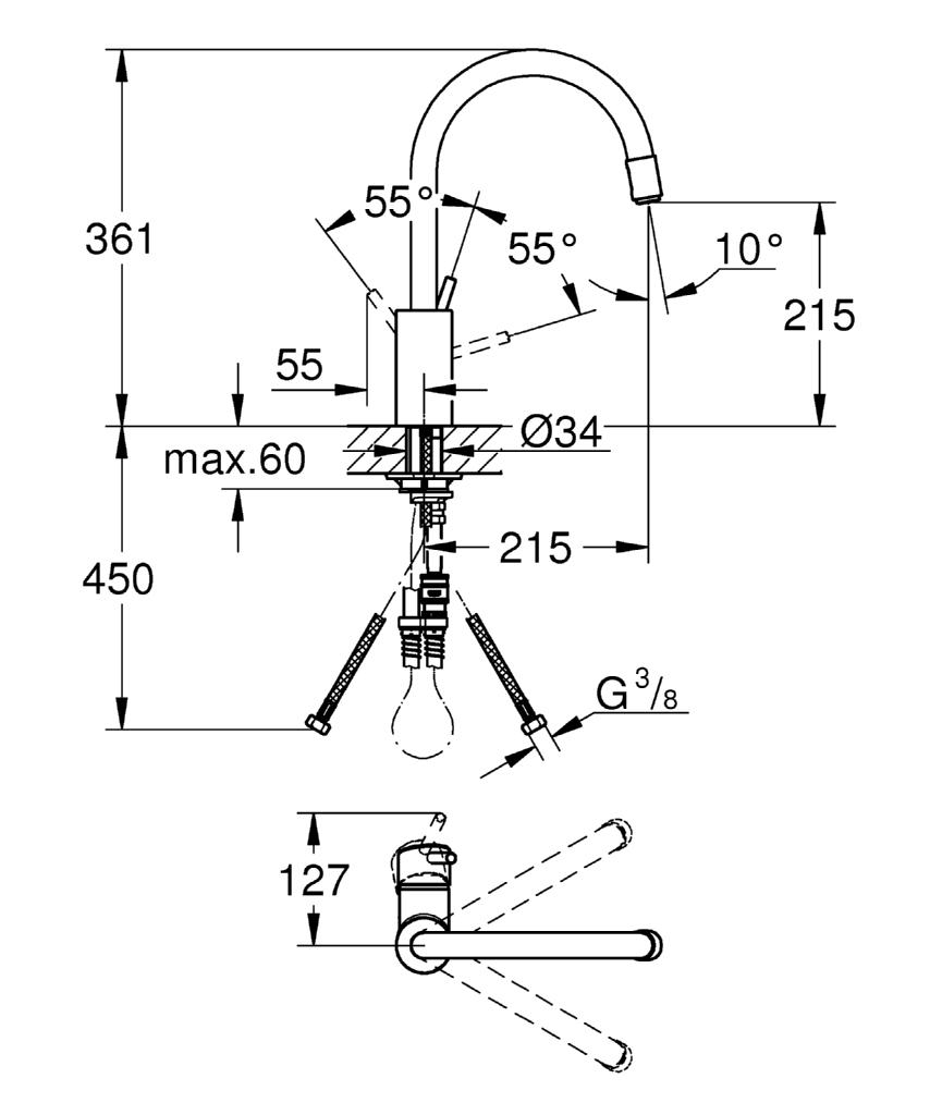 grohe concetto einhand sp ltischbatterie k chenarmatur dn 15 32663001 chrom ebay. Black Bedroom Furniture Sets. Home Design Ideas