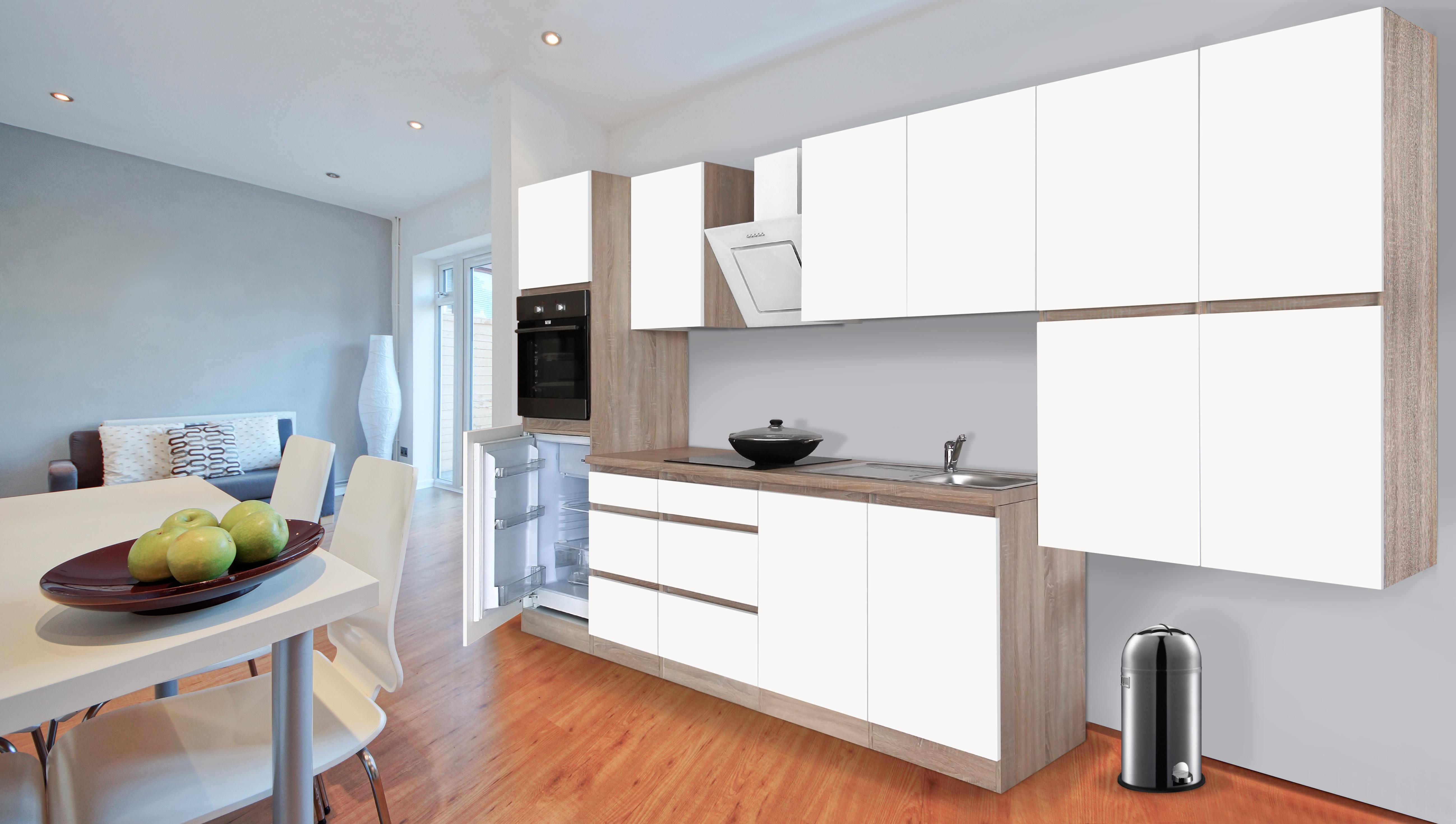respekta premium grifflose k chenzeile k che 370 cm eiche s gerau weiss matt ebay. Black Bedroom Furniture Sets. Home Design Ideas