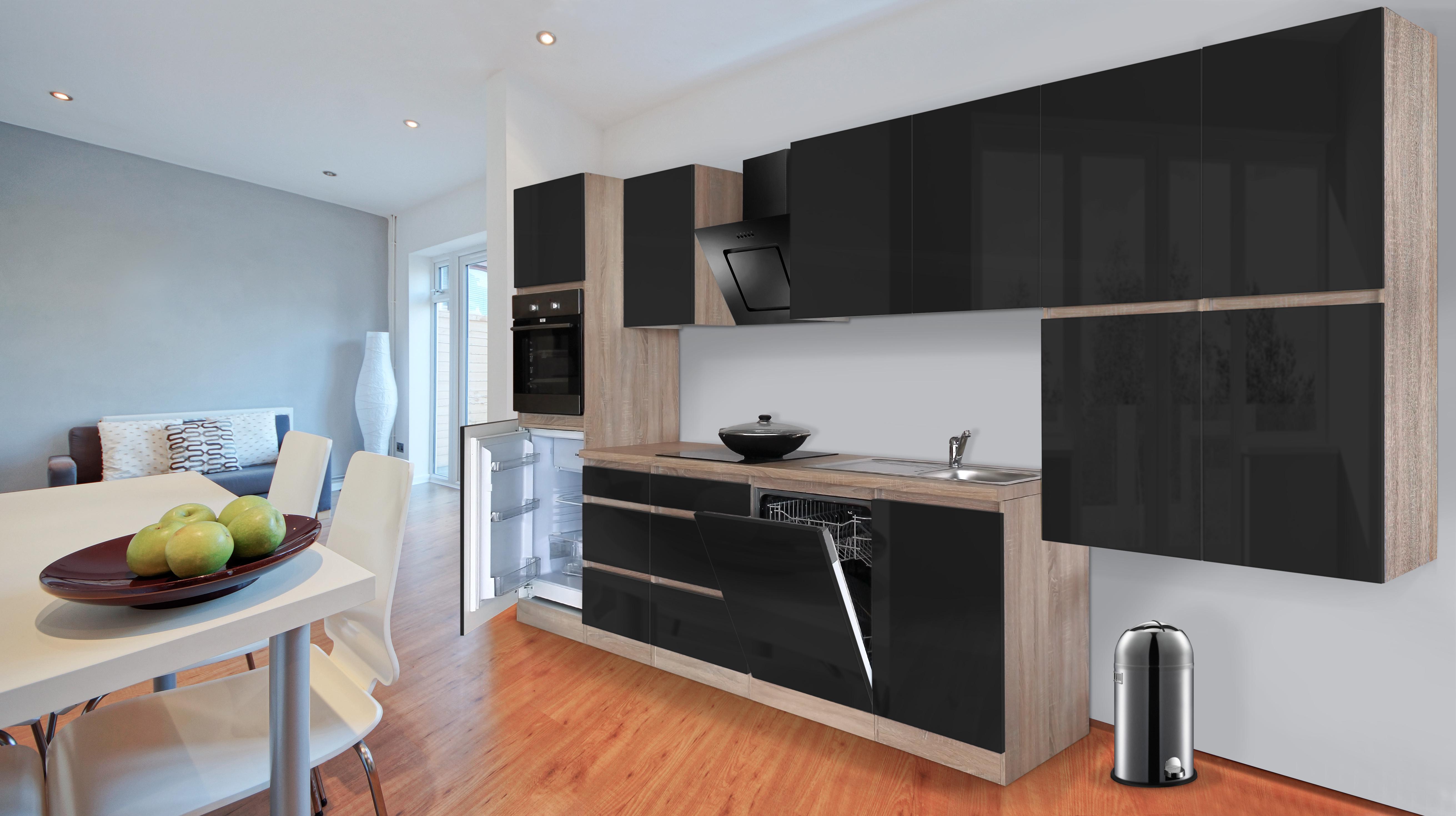 respekta premium grifflose k chenzeile k che 380 cm eiche s gerau schwarz ceran ebay. Black Bedroom Furniture Sets. Home Design Ideas