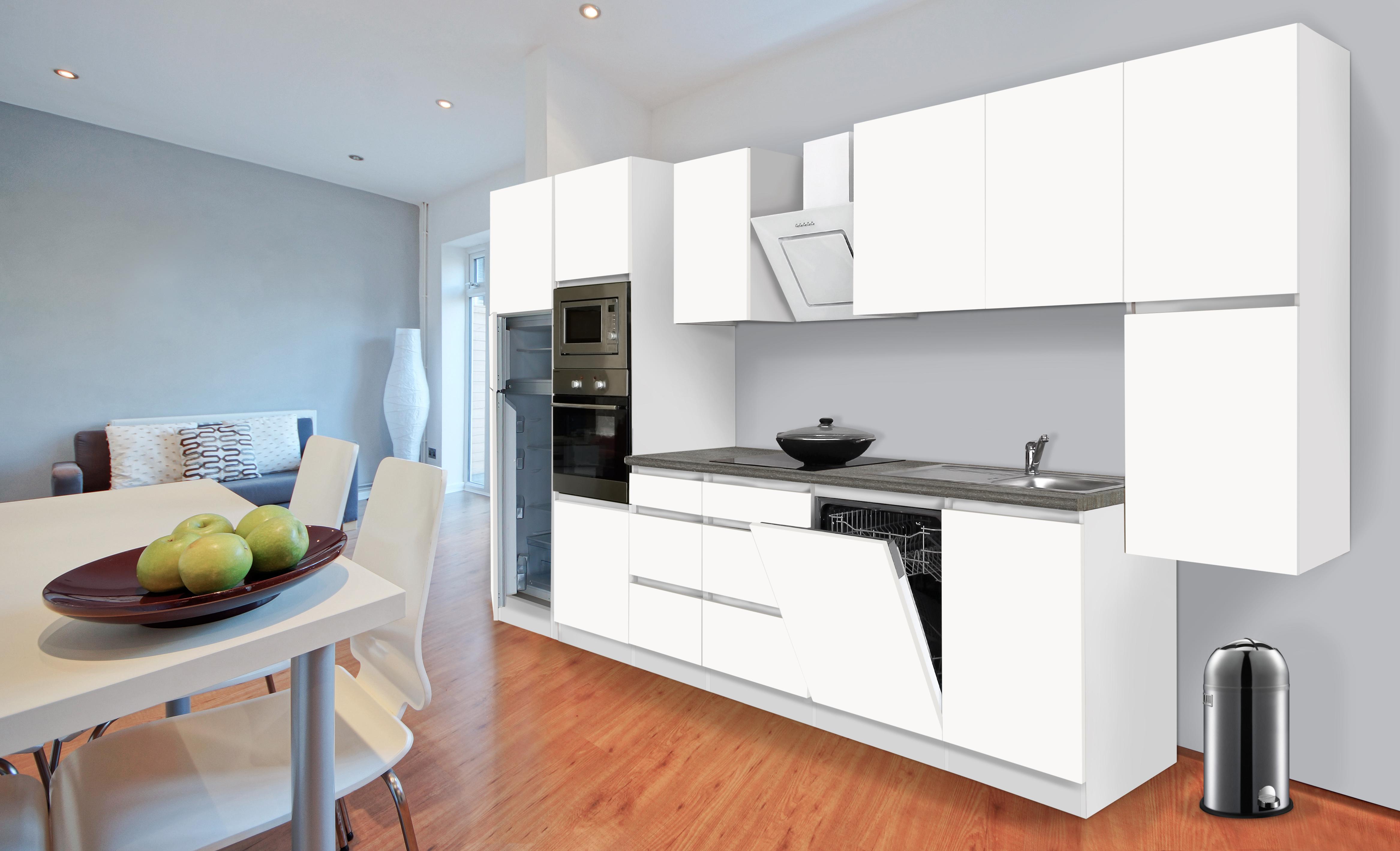 k chenzeile k che k chenblock grifflose k che einbauk che 395 cm wei respekta ebay. Black Bedroom Furniture Sets. Home Design Ideas