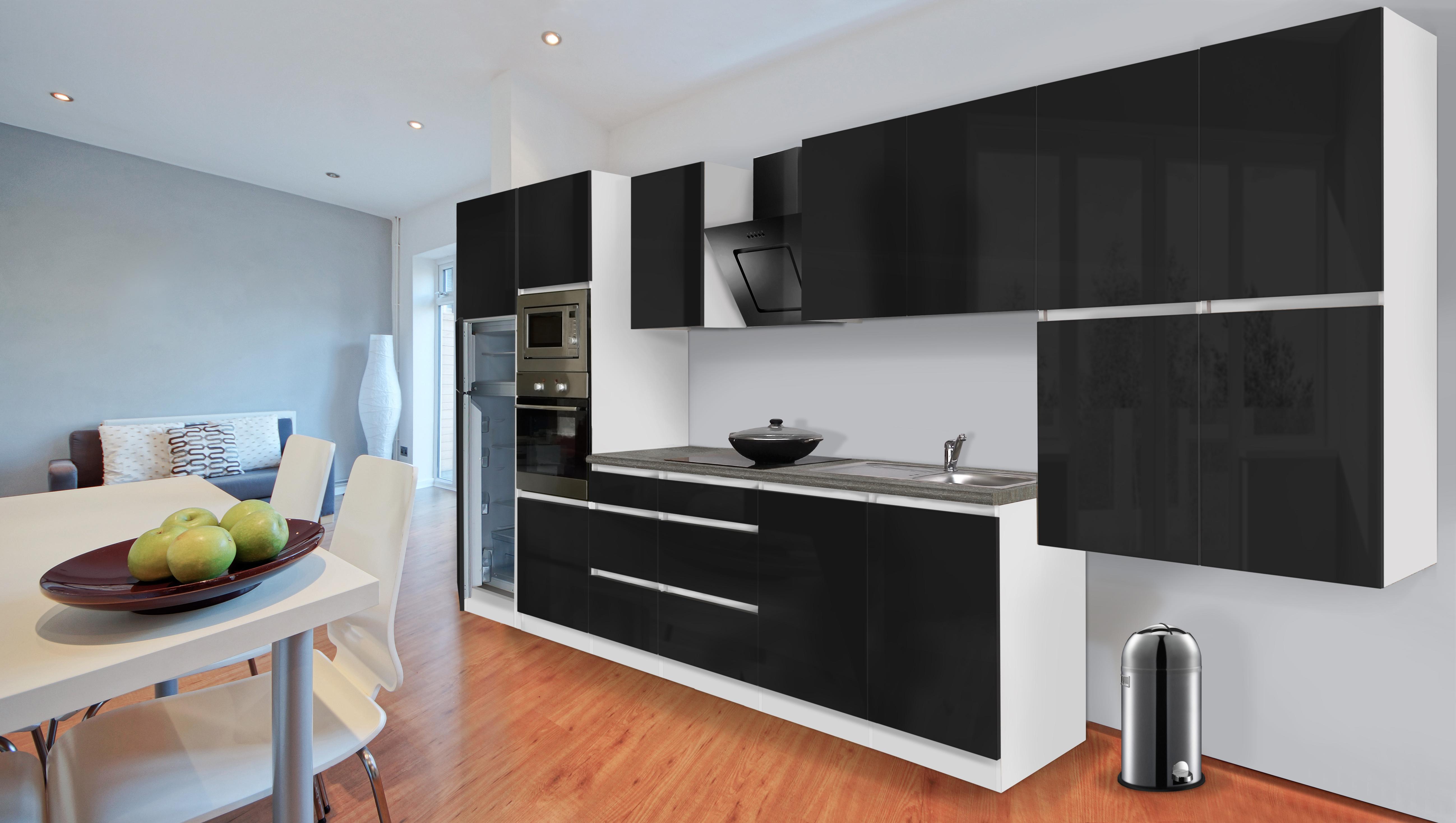 respekta premium grifflose k chenzeile k che 435 cm wei schwarz glanz k hlkombi ebay. Black Bedroom Furniture Sets. Home Design Ideas