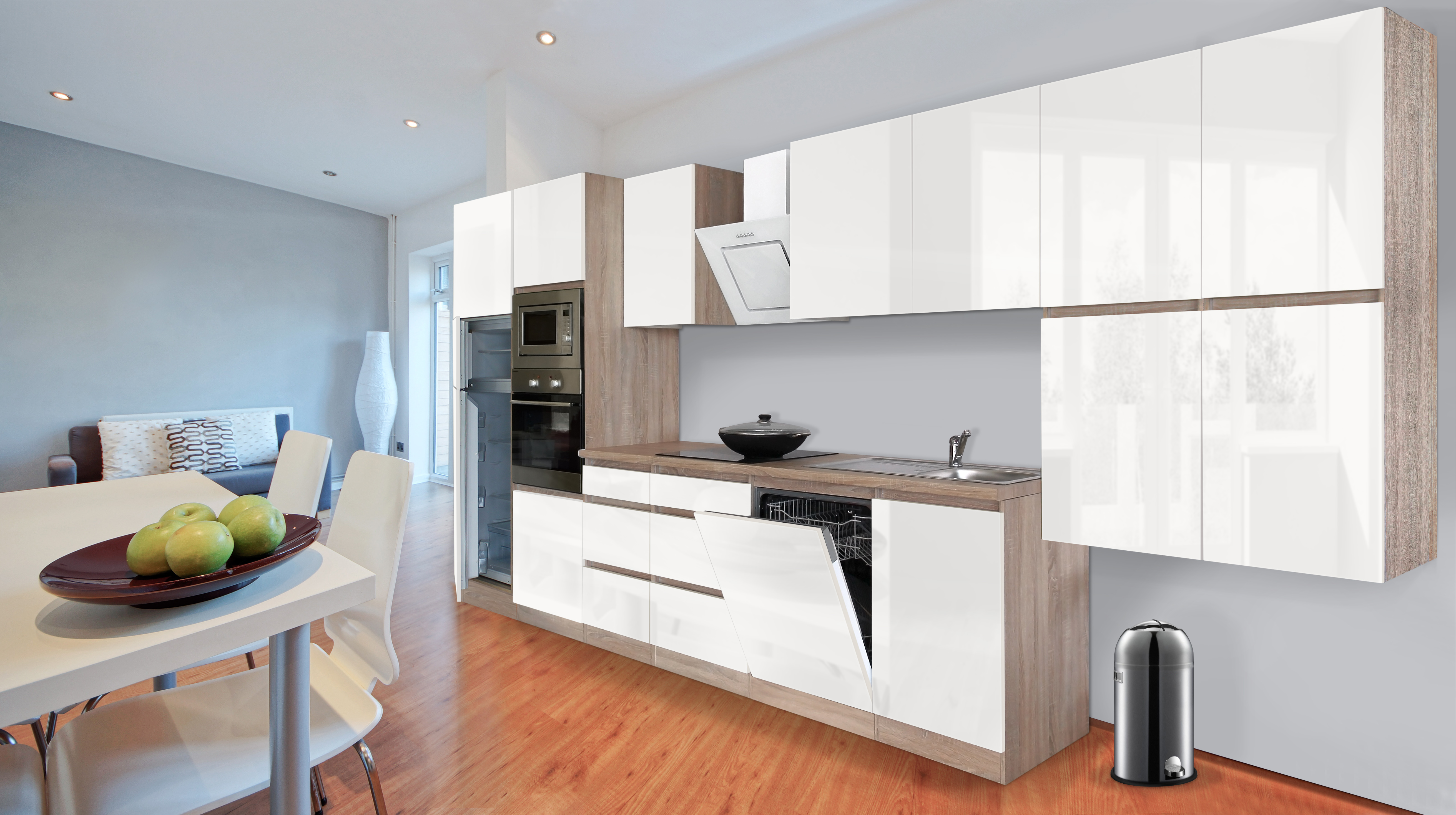respekta premium grifflose k chenzeile k che 445 cm eiche s gerau weiss glanz ebay. Black Bedroom Furniture Sets. Home Design Ideas
