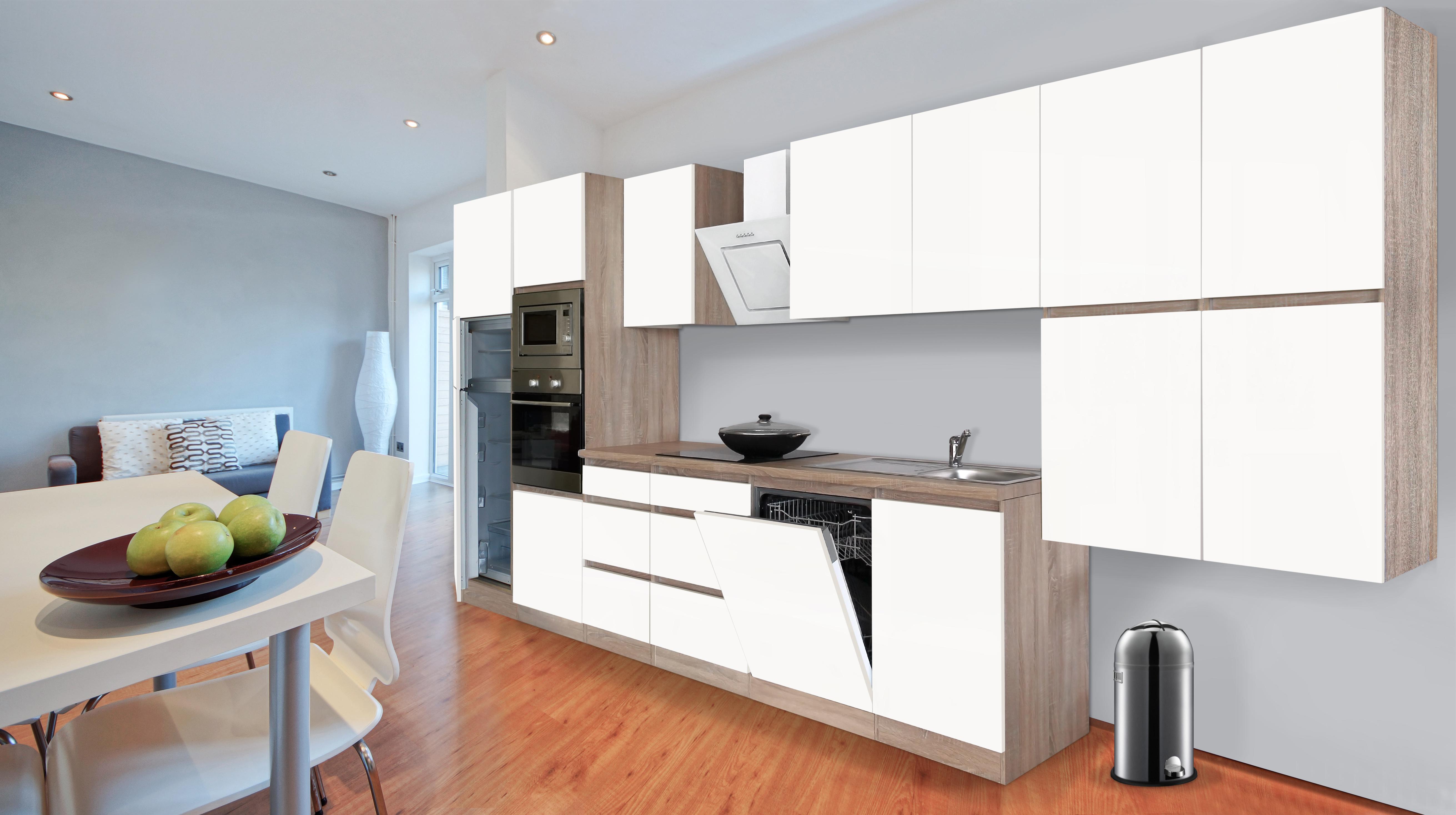 respekta premium grifflose k chenzeile k che 445 cm eiche s gerau weiss matt ebay. Black Bedroom Furniture Sets. Home Design Ideas