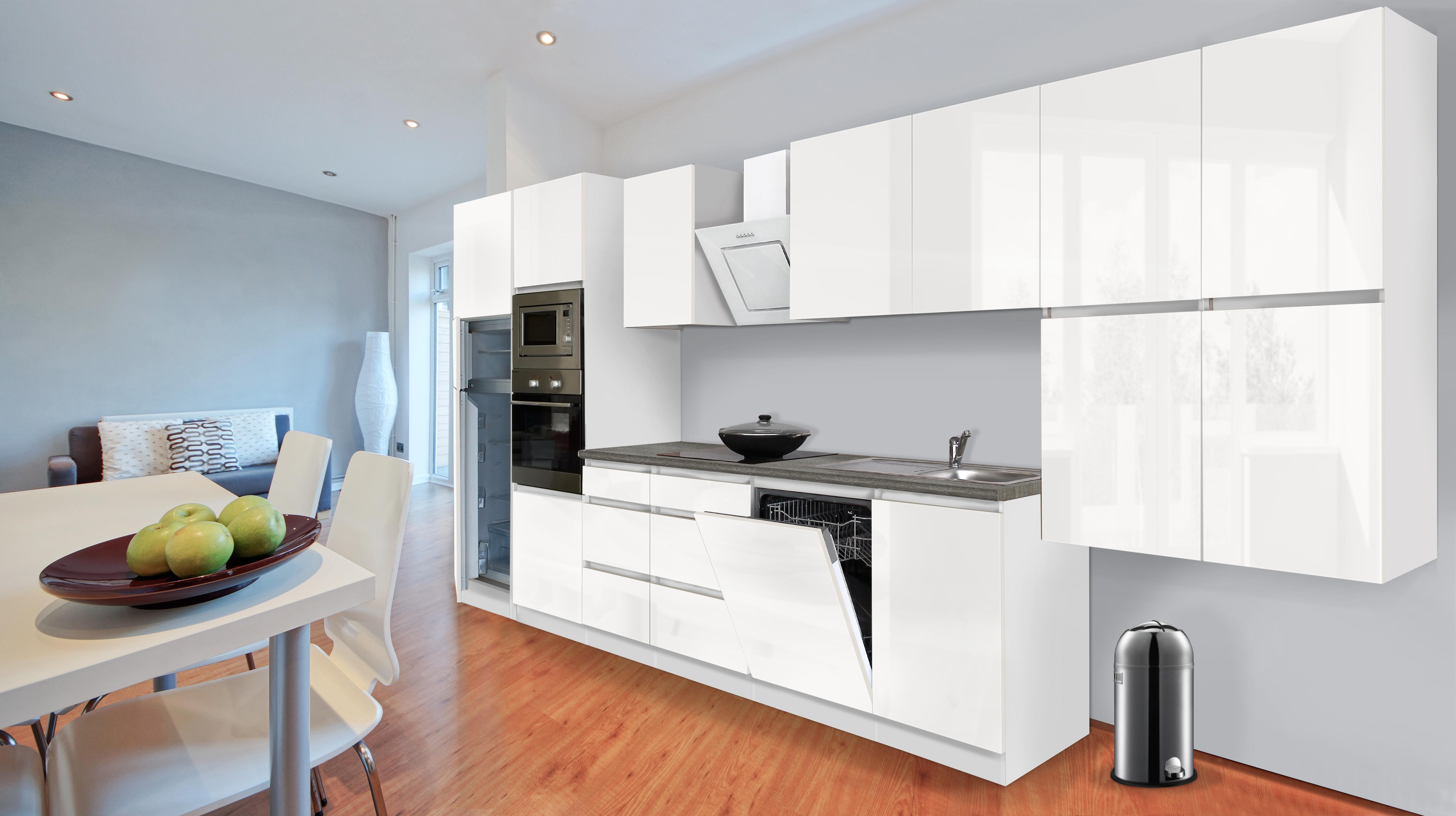 respekta premium grifflose k chenzeile k che 445 cm weiss hochglanz k hlkombi ebay. Black Bedroom Furniture Sets. Home Design Ideas