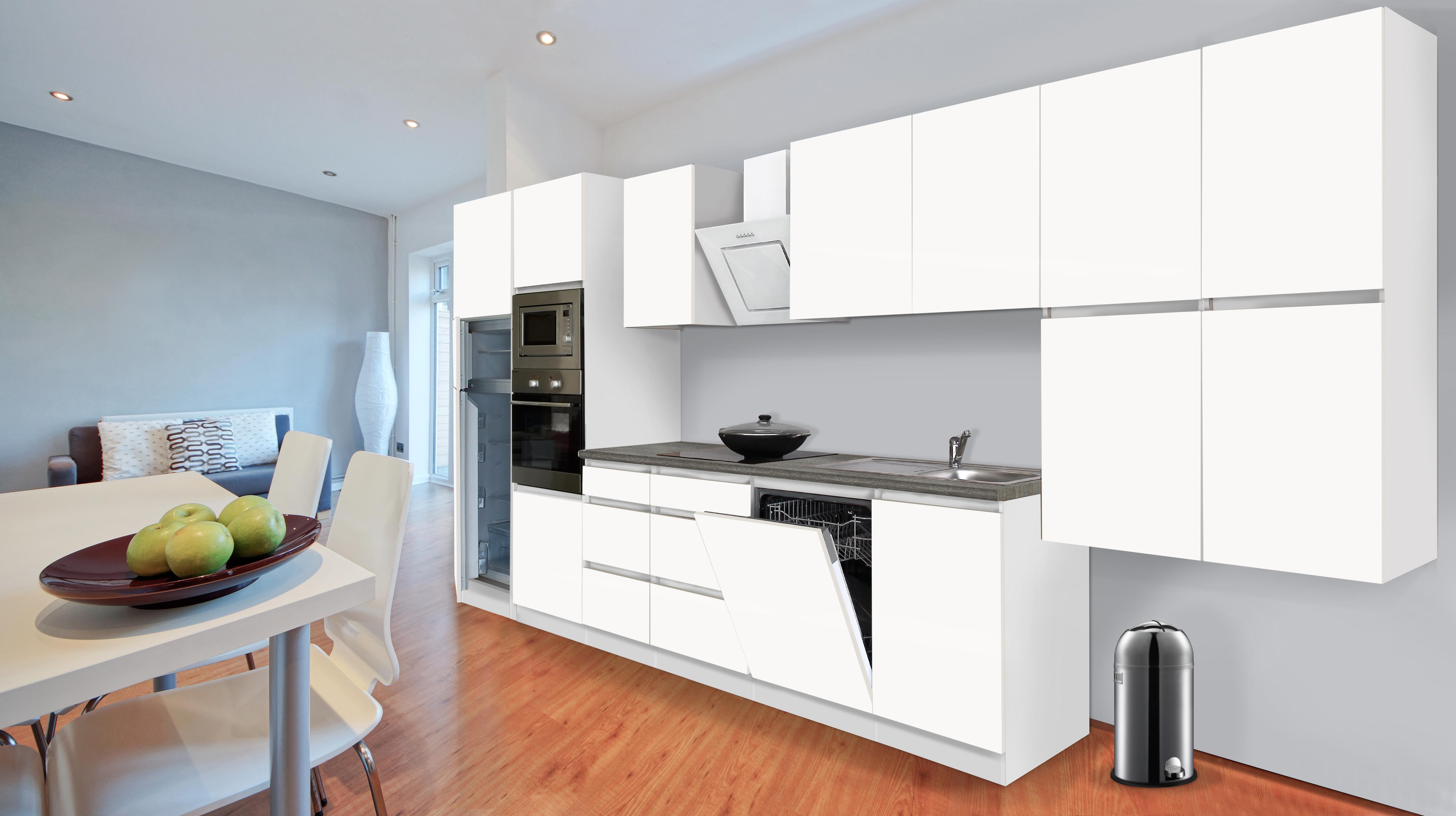 respekta premium grifflose k chenzeile k che 445 cm weiss matt ceran k hlkombi ebay. Black Bedroom Furniture Sets. Home Design Ideas