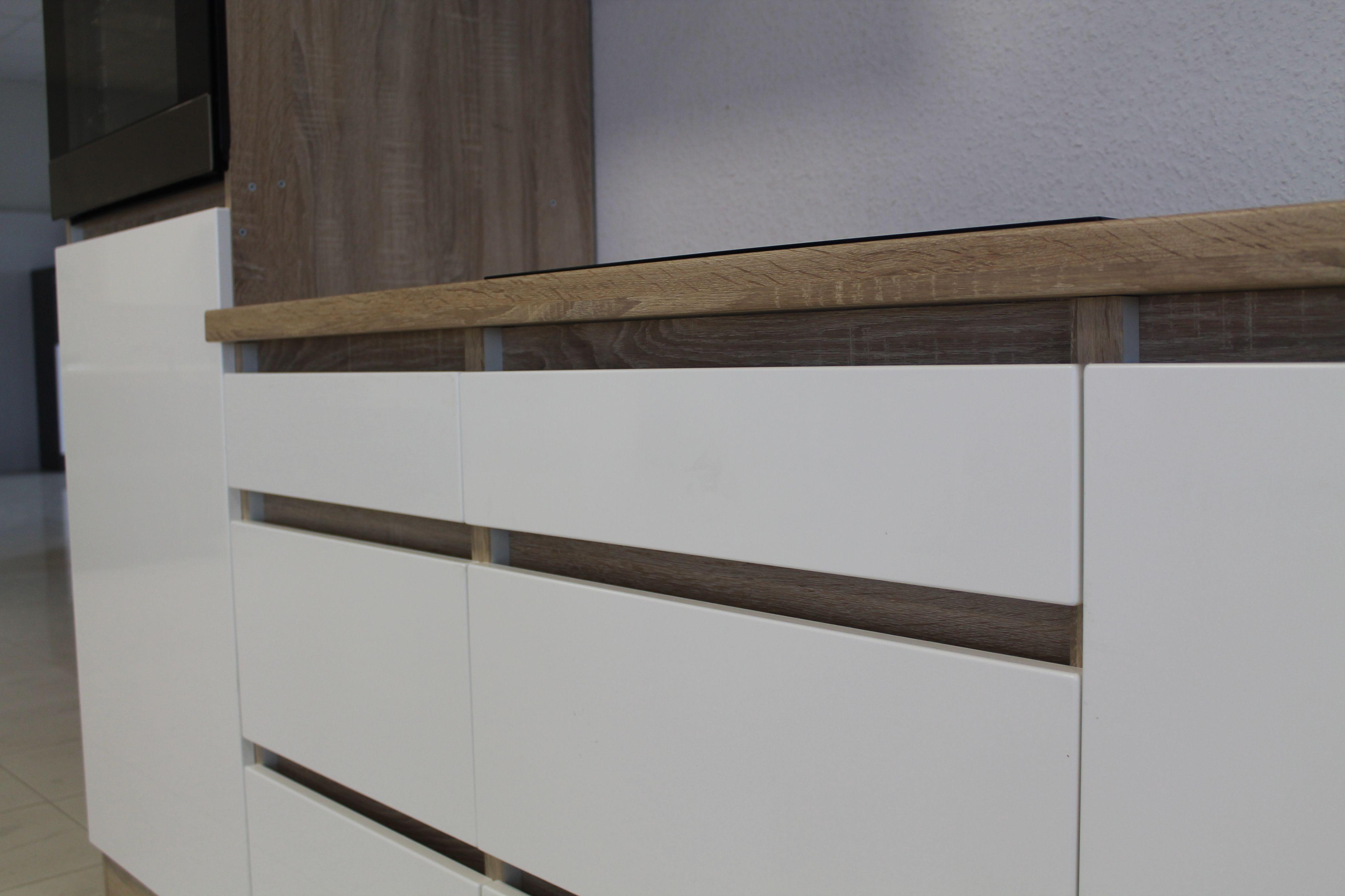 respekta grifflose k che leerblock k chenleerblock 320cm eiche sonoma wei glanz ebay. Black Bedroom Furniture Sets. Home Design Ideas