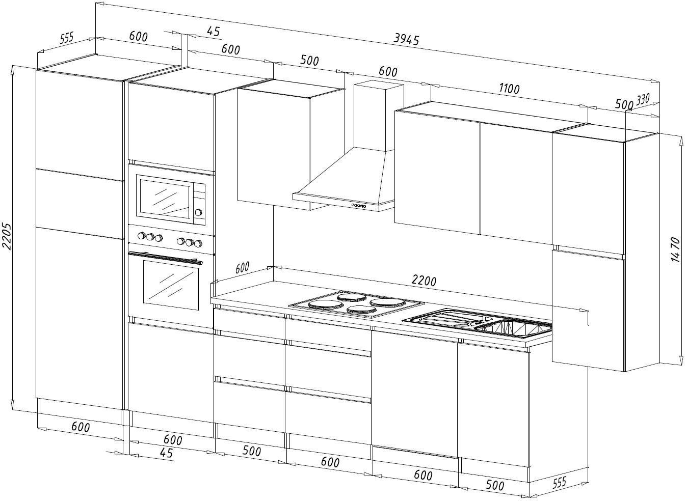 Küche Küchenzeile Küchenblock Grifflos Einbauküche 395 Cm
