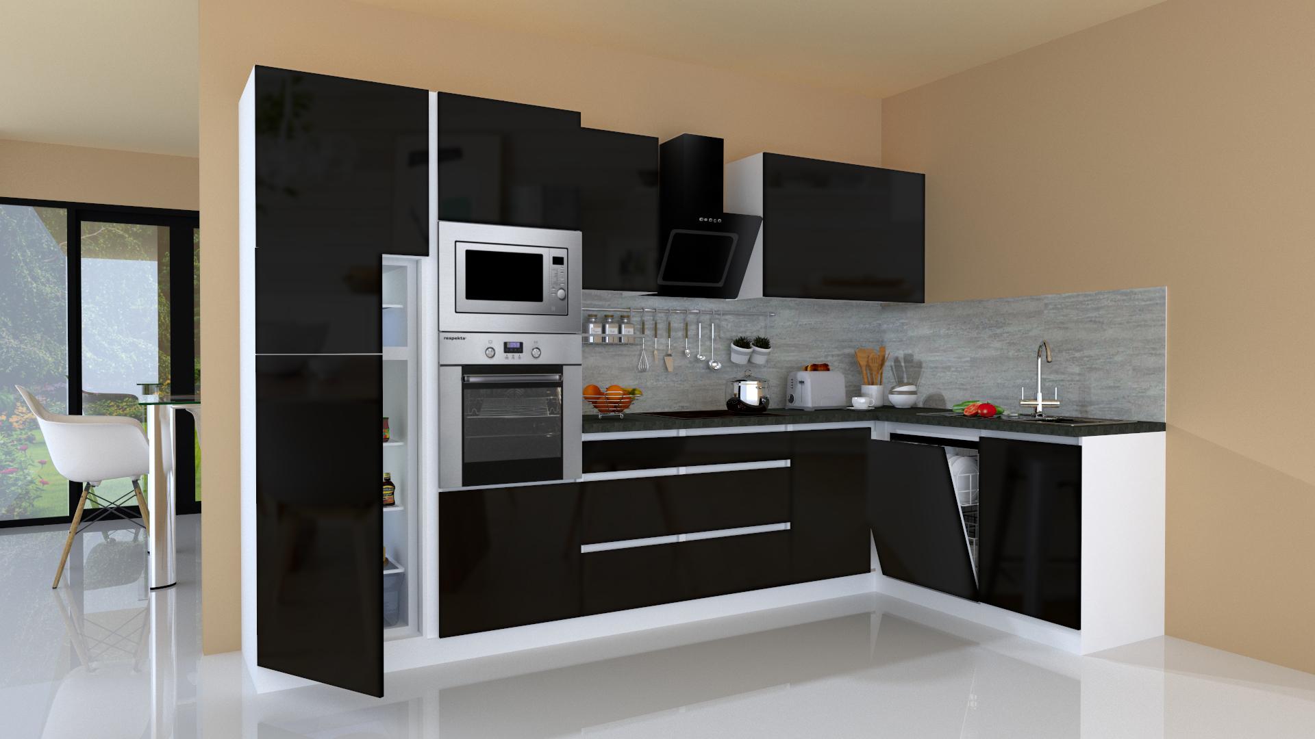 Dettagli su Winkelküche Cucinino Cucina L-FORMA senza Maniglie Nero 345x172  cm Respekta