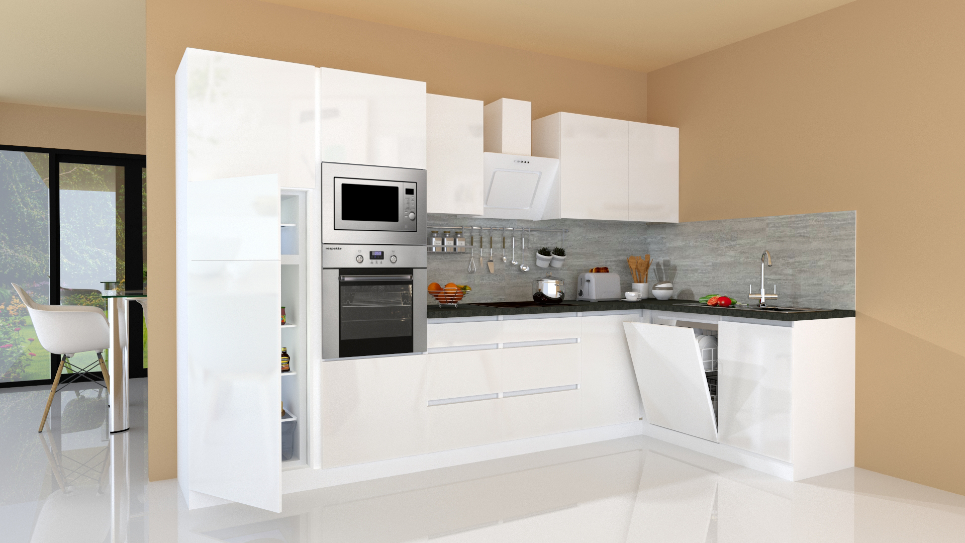 Details zu Winkelküche Küchenzeile Küche L-Form Küche grifflos weiß 20x20  cm respekta
