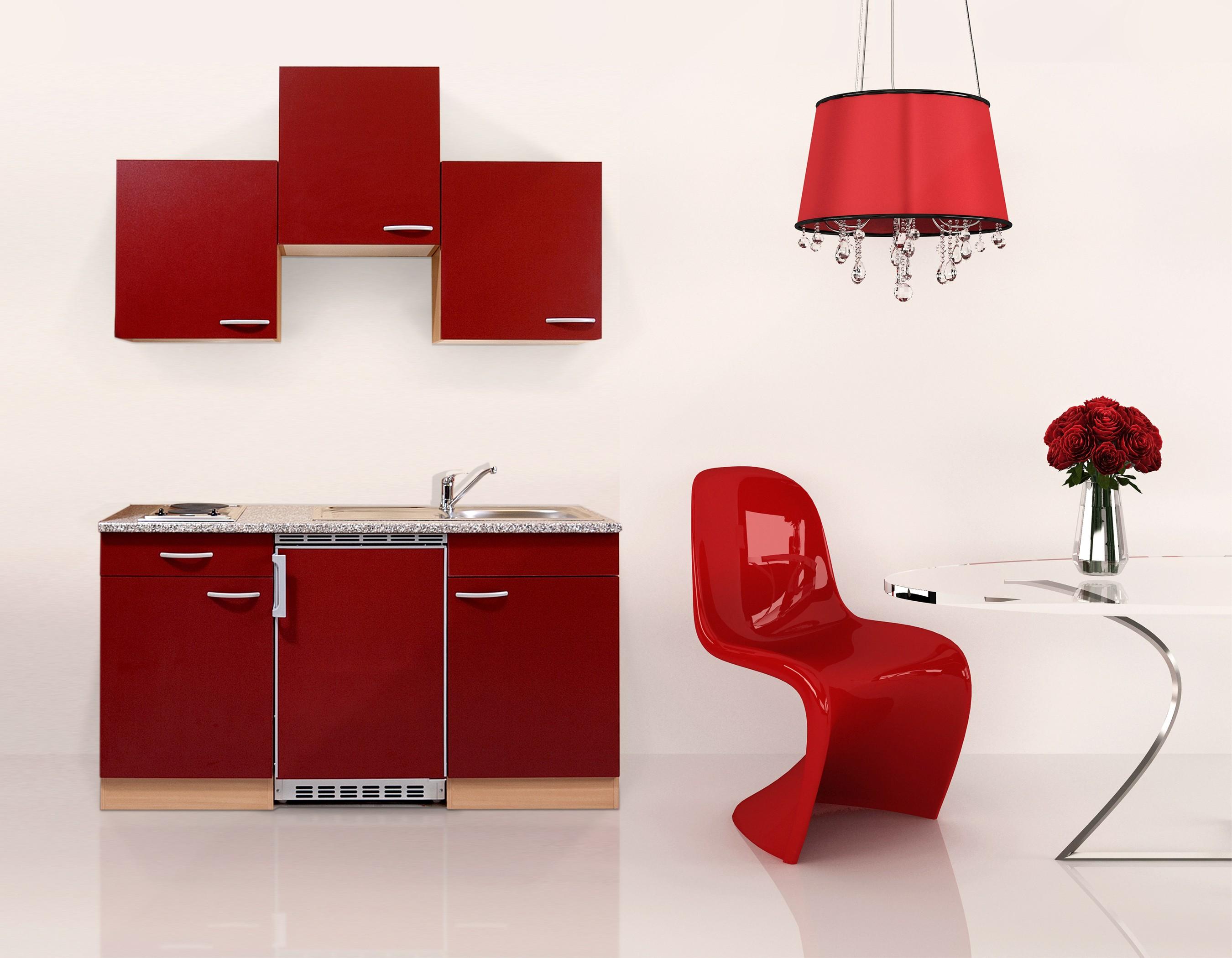singlek che k chenzeile k chenblock minik che k che respekta 150 cm buche rot 4260287641099 ebay. Black Bedroom Furniture Sets. Home Design Ideas