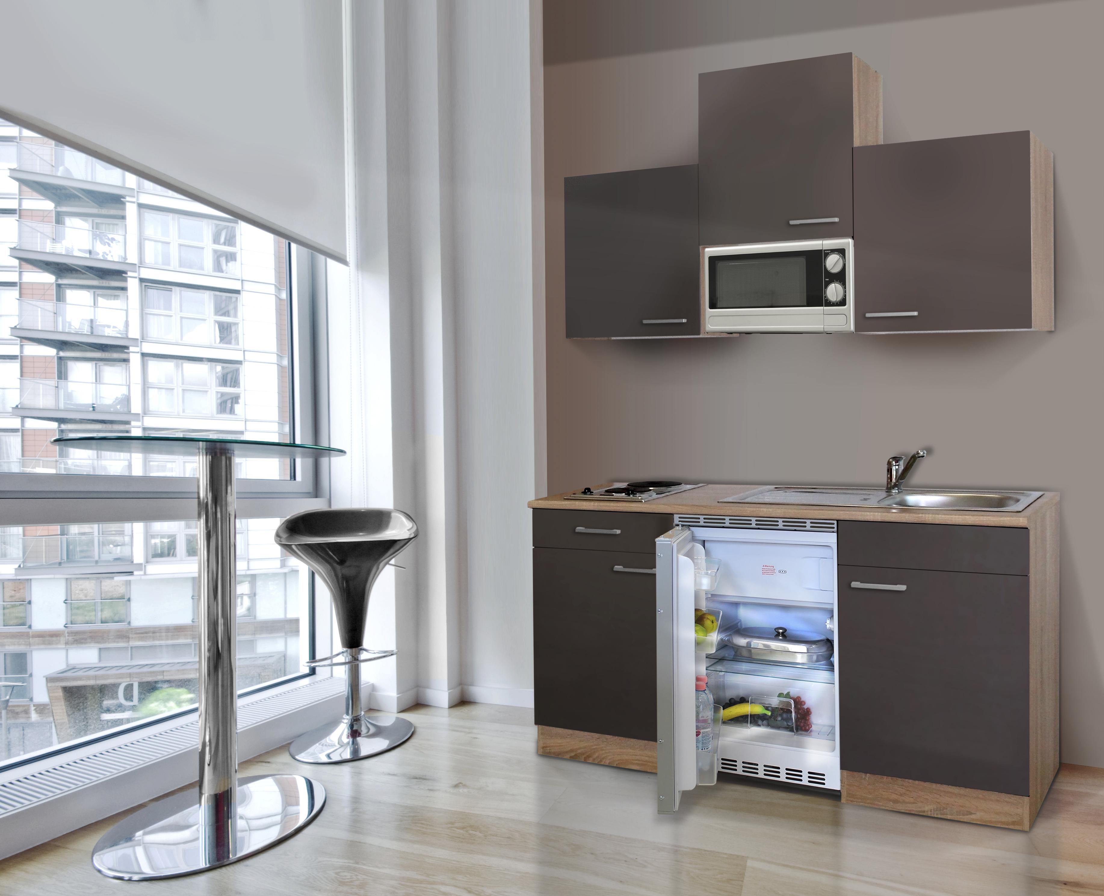 respekta singlek che minik che k che k chenzeile 150 cm eiche s gerau grau ceran ebay. Black Bedroom Furniture Sets. Home Design Ideas