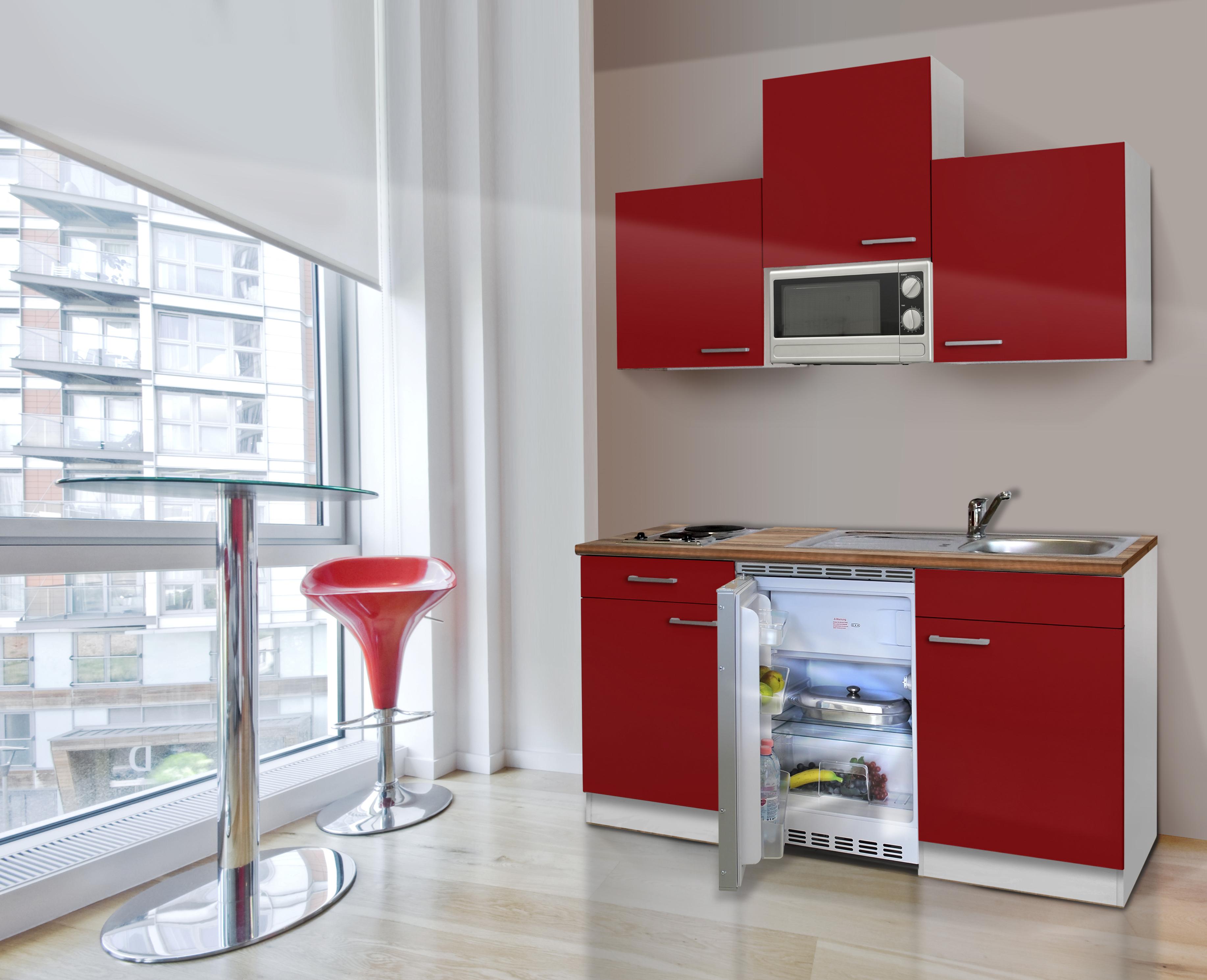 Mini Cucina Singola Blocco Angolo Cottura 150 Cm Bianco Rosso ...