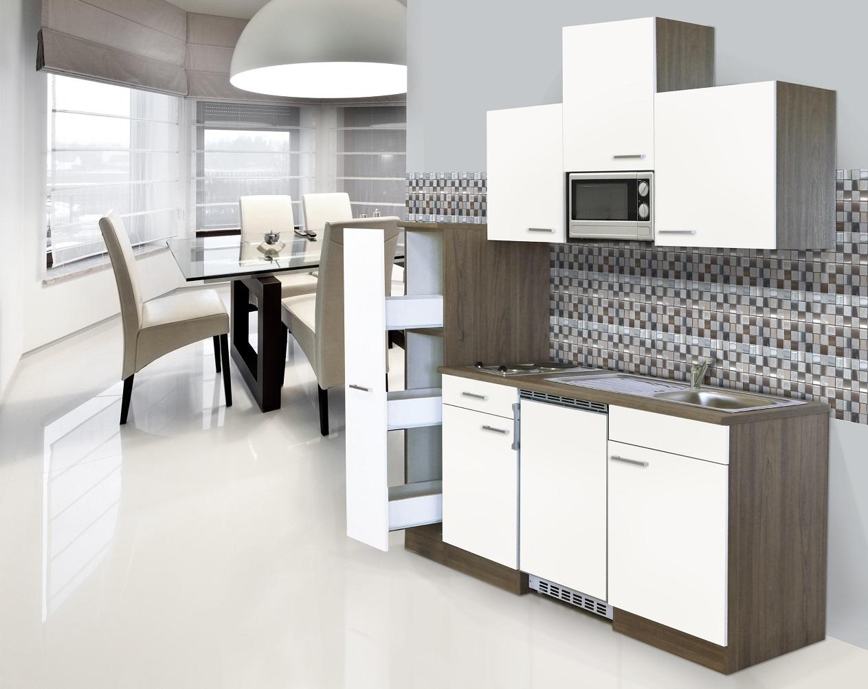 k che k chenzeile singlek che einbau k chenblock 180 cm eiche york wei respekta ebay. Black Bedroom Furniture Sets. Home Design Ideas
