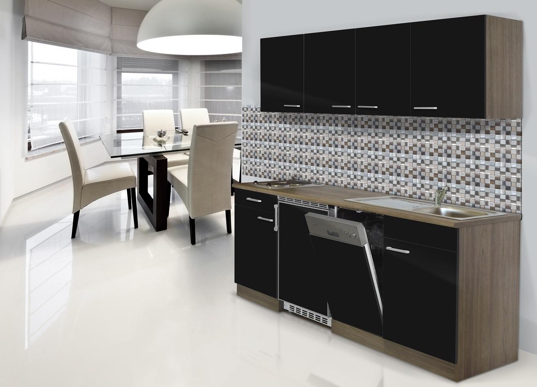 Dettagli su Cucina Cucina Angolo Cottura Cucina Singola 195 cm Rovere York  Nero Respekta