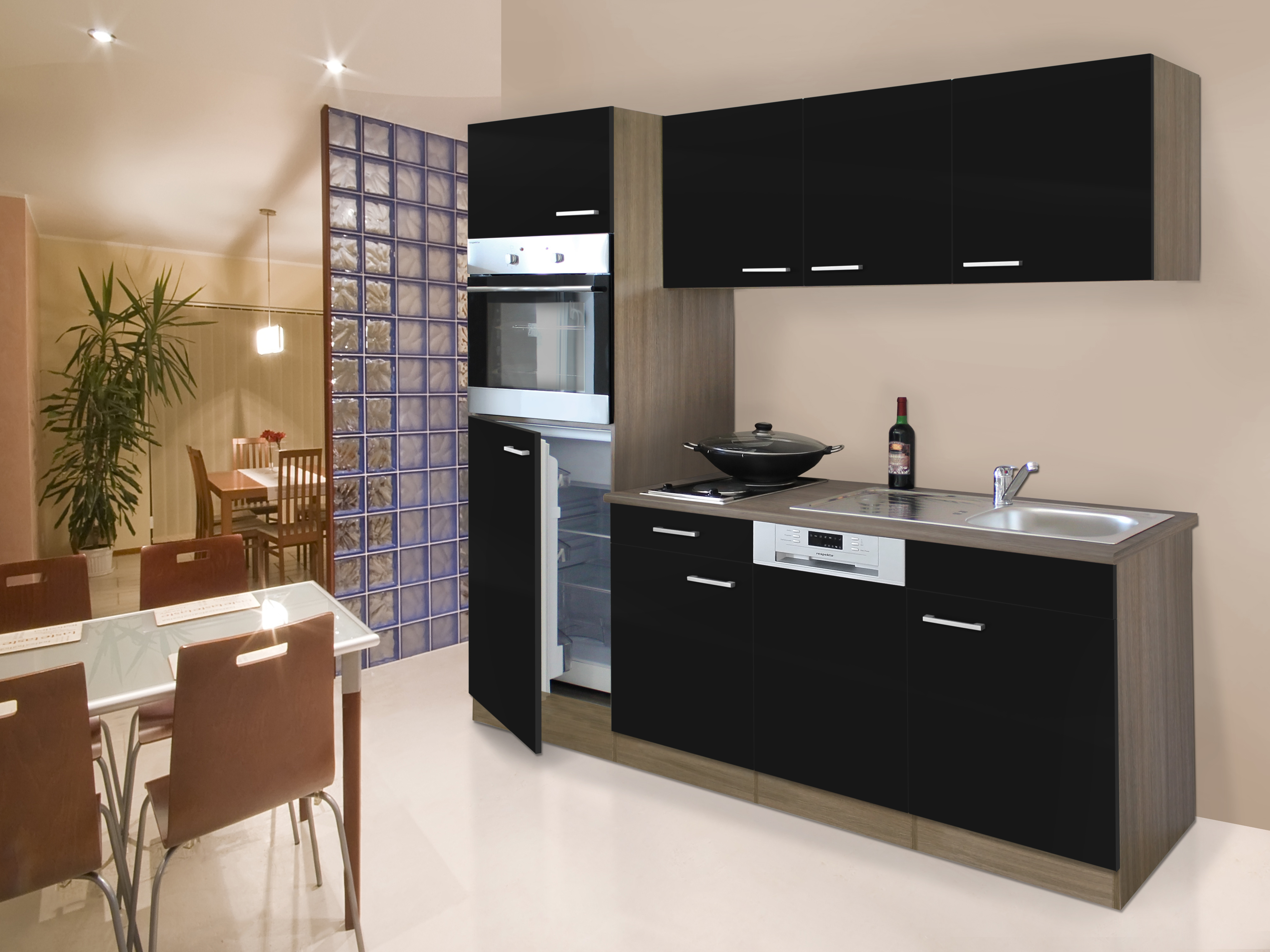 respekta cuisine int gr e simple bloc de 205 cm en ch ne. Black Bedroom Furniture Sets. Home Design Ideas