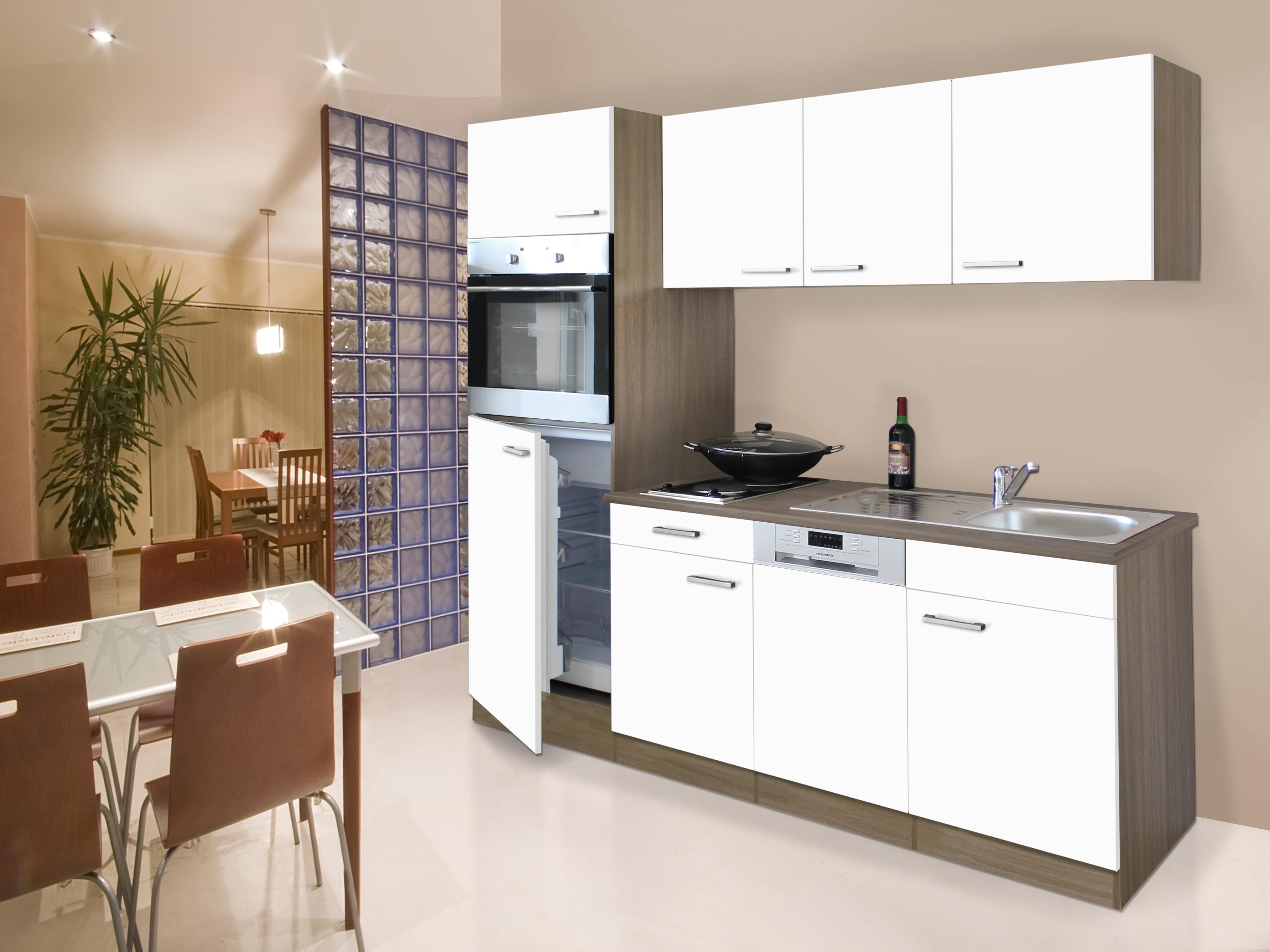 cucina angolo cottura incasso singola 205 cm rovere YORK BIANCO ...
