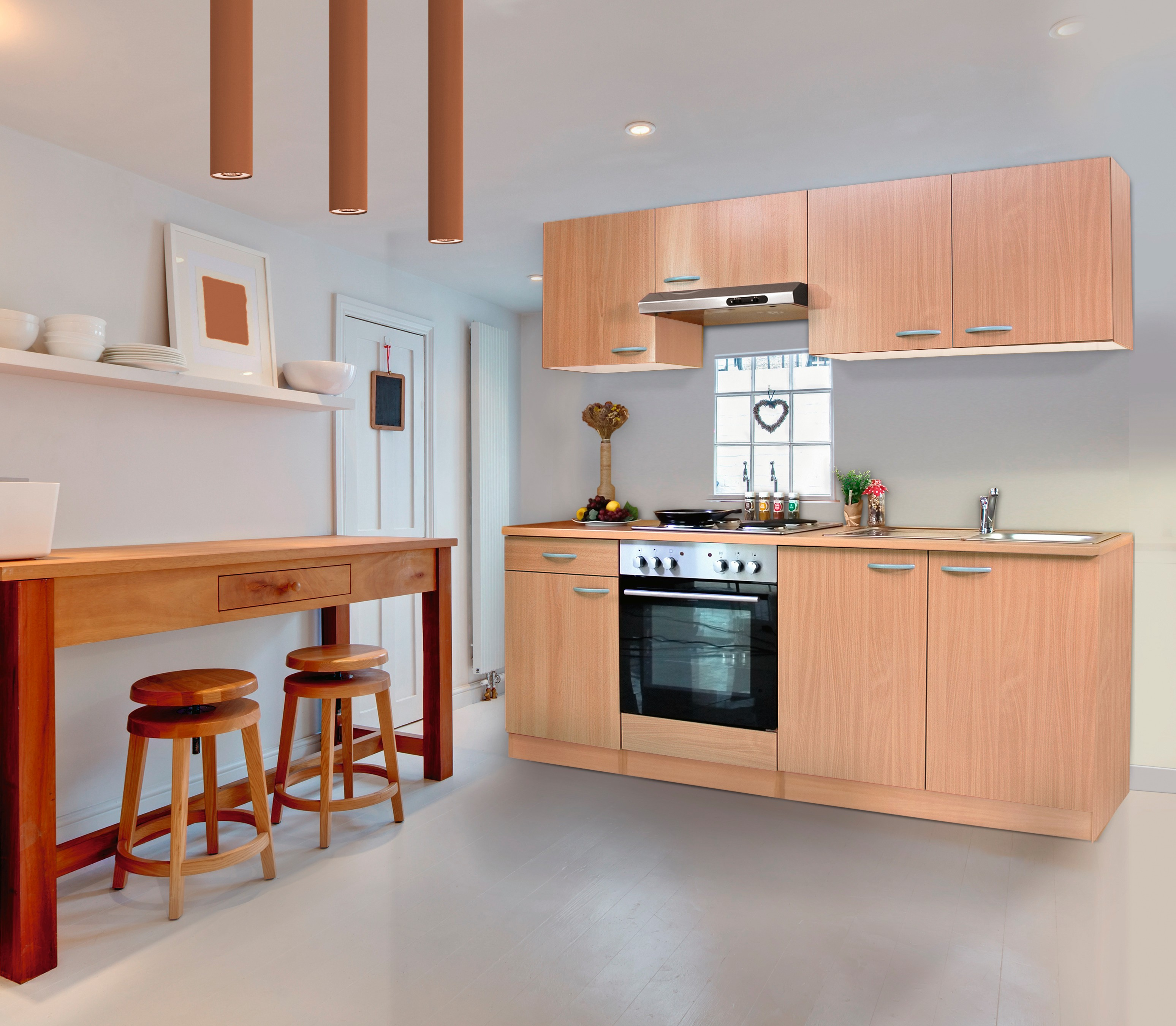 k che k chenzeile k chenblock einbauk che komplettk che 210 cm buche respekta ebay. Black Bedroom Furniture Sets. Home Design Ideas