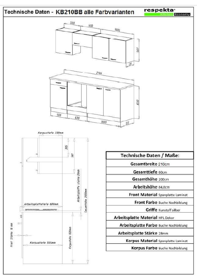 respekta k che k chenzeile k chenblock einbauk che 210 cm buche nachbildung grau ebay. Black Bedroom Furniture Sets. Home Design Ideas