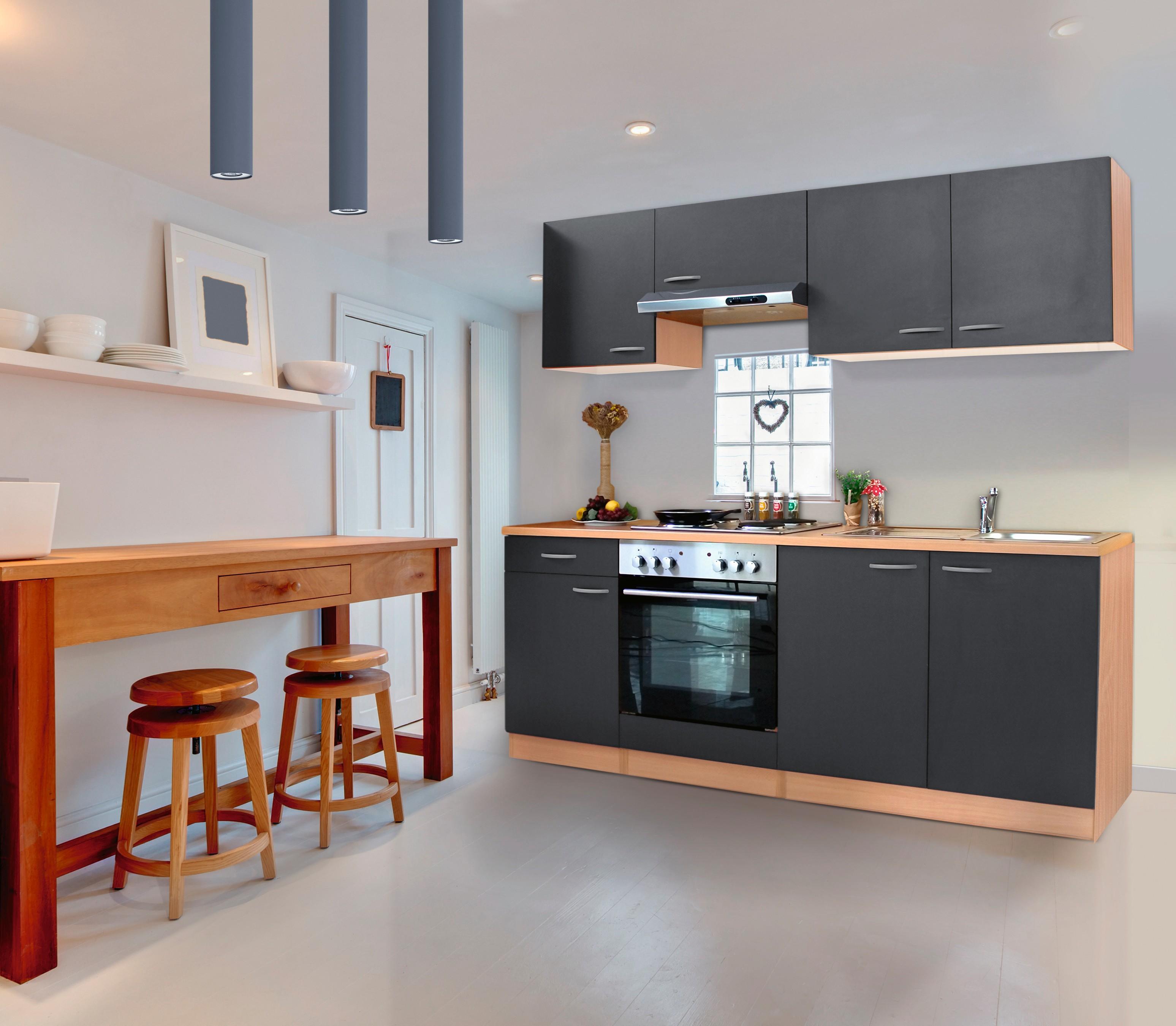 Dettagli su Cucina,Angolo Cucina,Blocco Cucina,Cucina Componibile Completo  210 cm Faggio