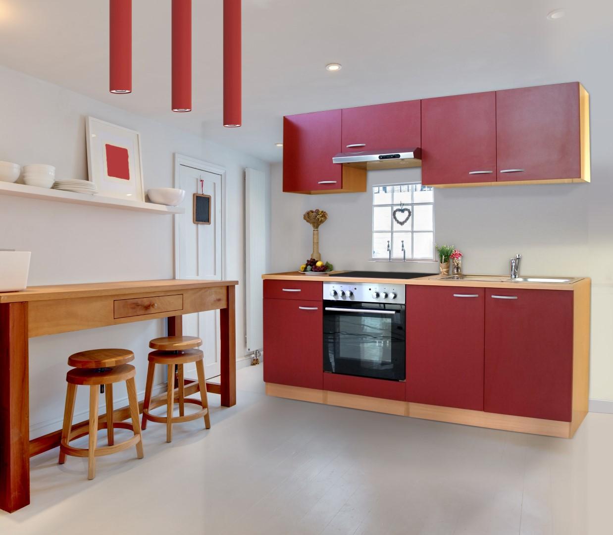 Dettagli su Cucina Angolo Componibile Blocco Completa 210cm Faggio Rosso  respekta