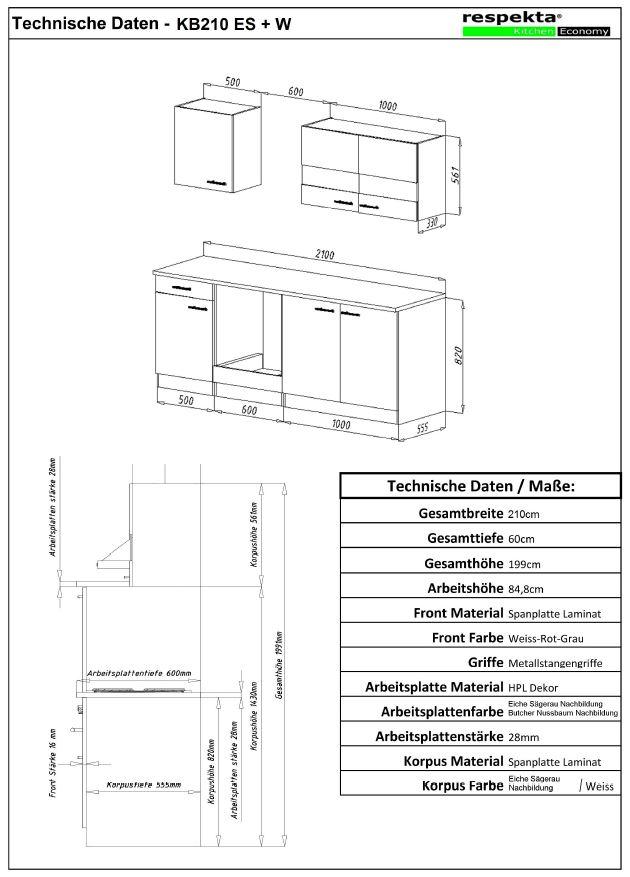 respekta einbau k che k chenzeile einbauk che 210 cm eiche sonoma s gerau rot ebay. Black Bedroom Furniture Sets. Home Design Ideas