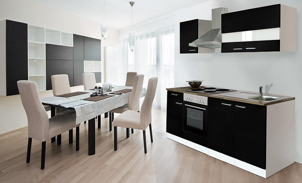 Respekta kuche kuchenzeile einbaukuche 210 cm weiss front for Küchenzeile 210 cm