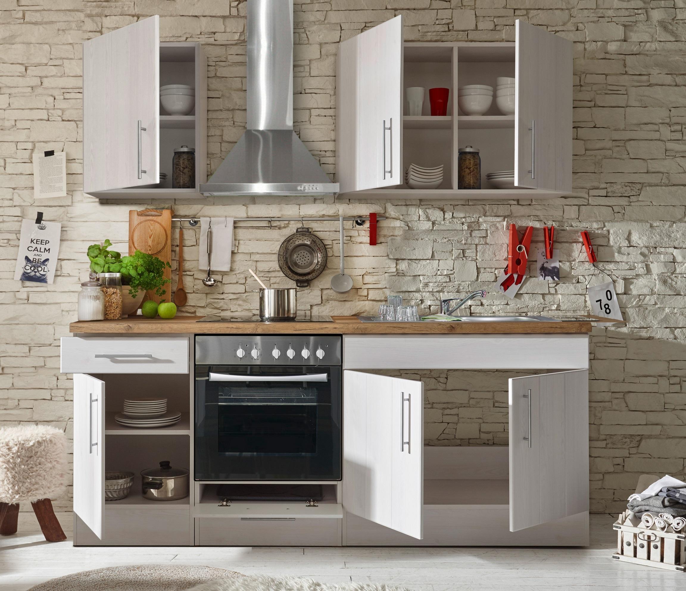 k che k chenzeile k chenblock landhausk che einbauk che 210 cm wei respekta ebay. Black Bedroom Furniture Sets. Home Design Ideas