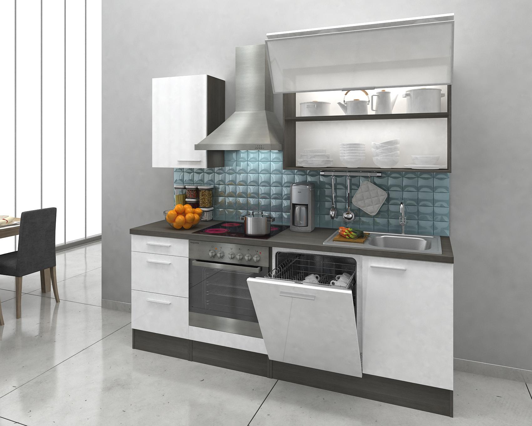 Cucina Angolo Cottura Blocco Incasso Completo 220 cm Rovere Bianco ...