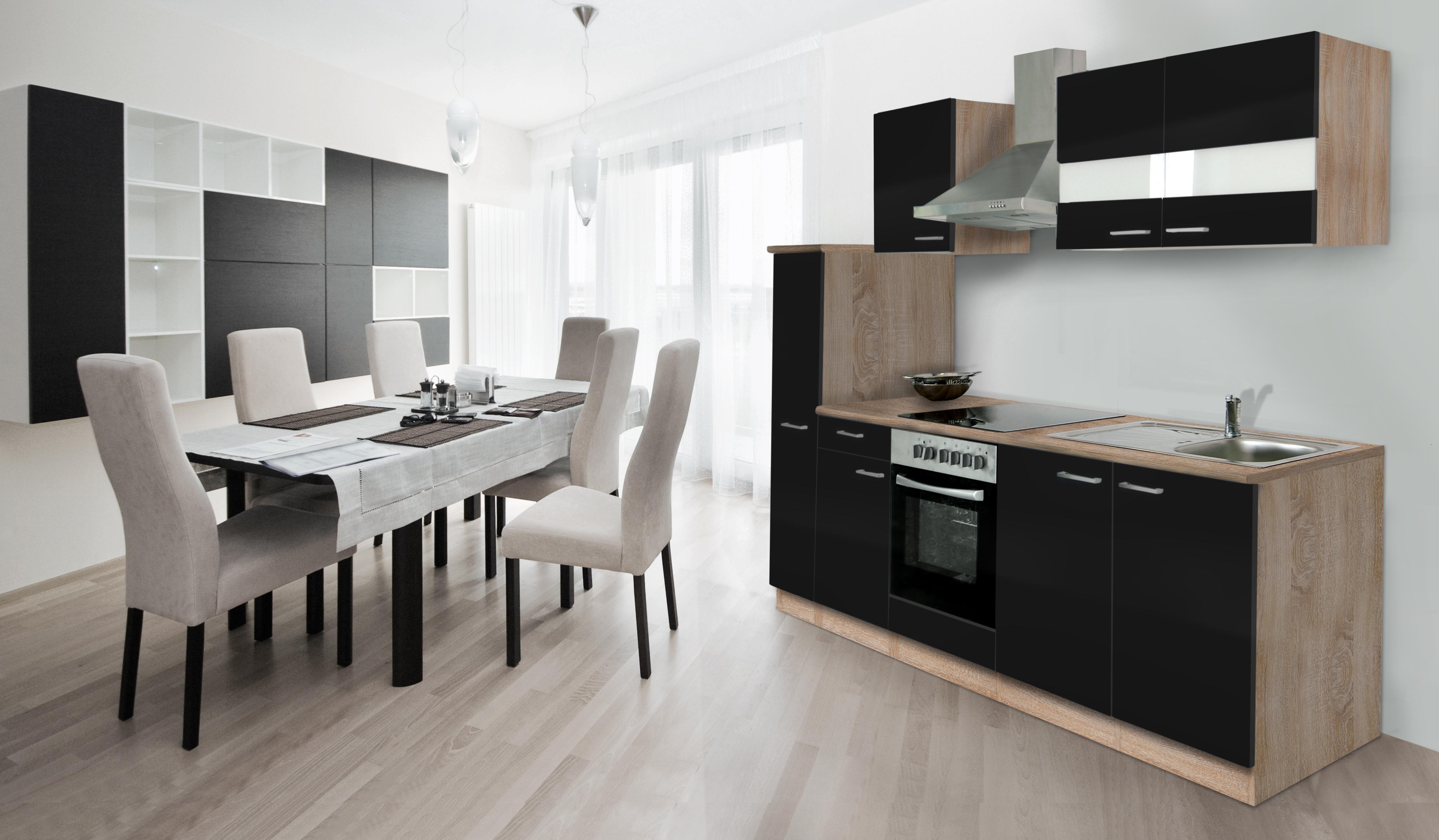 k che k chenzeile k chenblock einbauk che 240 cm eiche s gerau schwarz respekta ebay. Black Bedroom Furniture Sets. Home Design Ideas