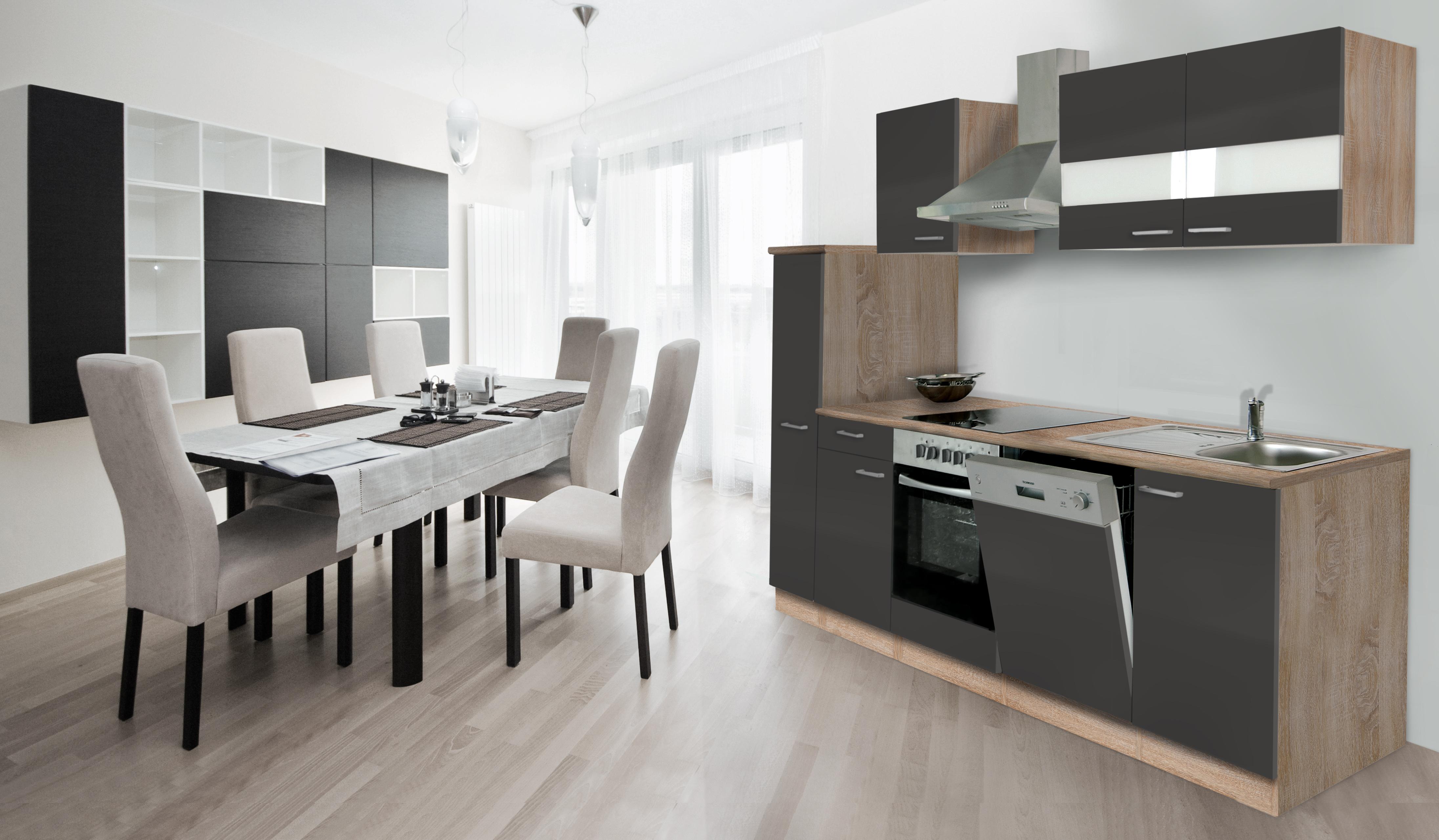 küche küchenzeile küchenblock einbauküche 250 cm eiche