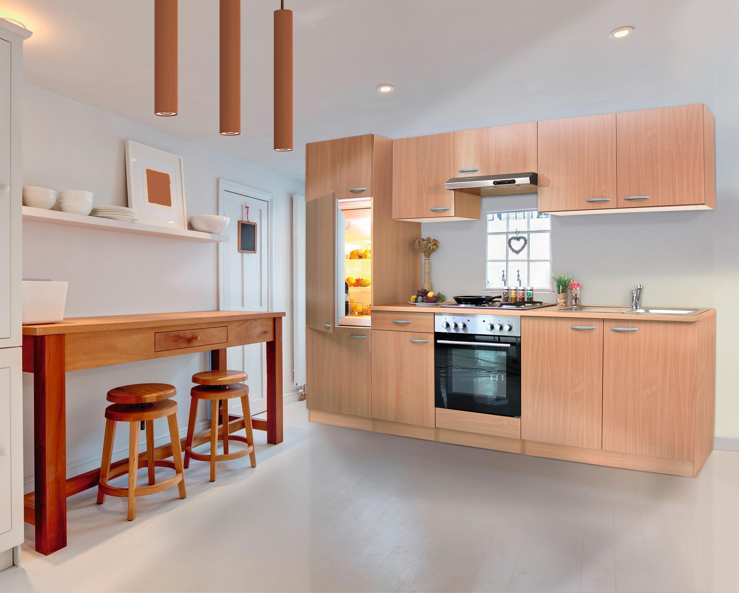 k che k chenzeile k chenblock einbauk che komplettk che 270 cm buche respekta ebay. Black Bedroom Furniture Sets. Home Design Ideas