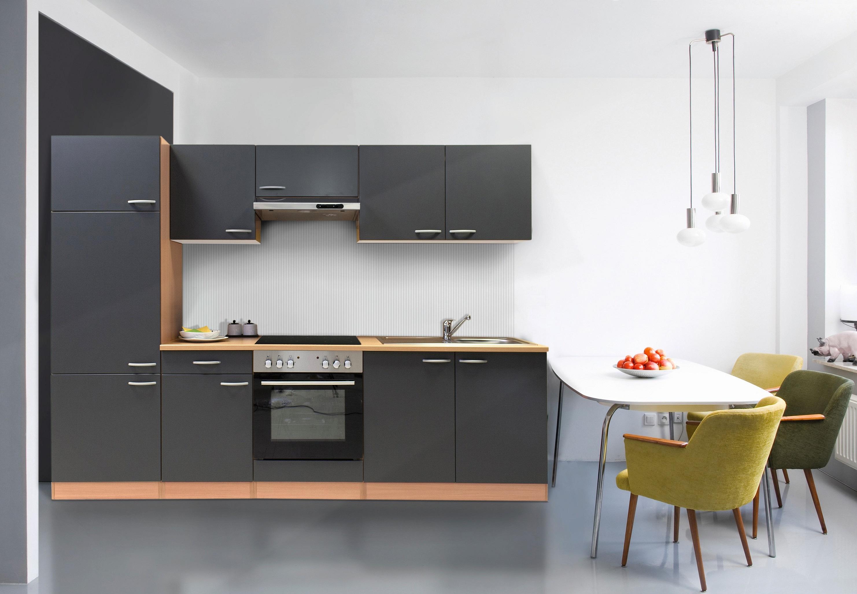 k che k chenzeile k chenblock einbauk che komplett 270 cm buche grau respekta ebay. Black Bedroom Furniture Sets. Home Design Ideas