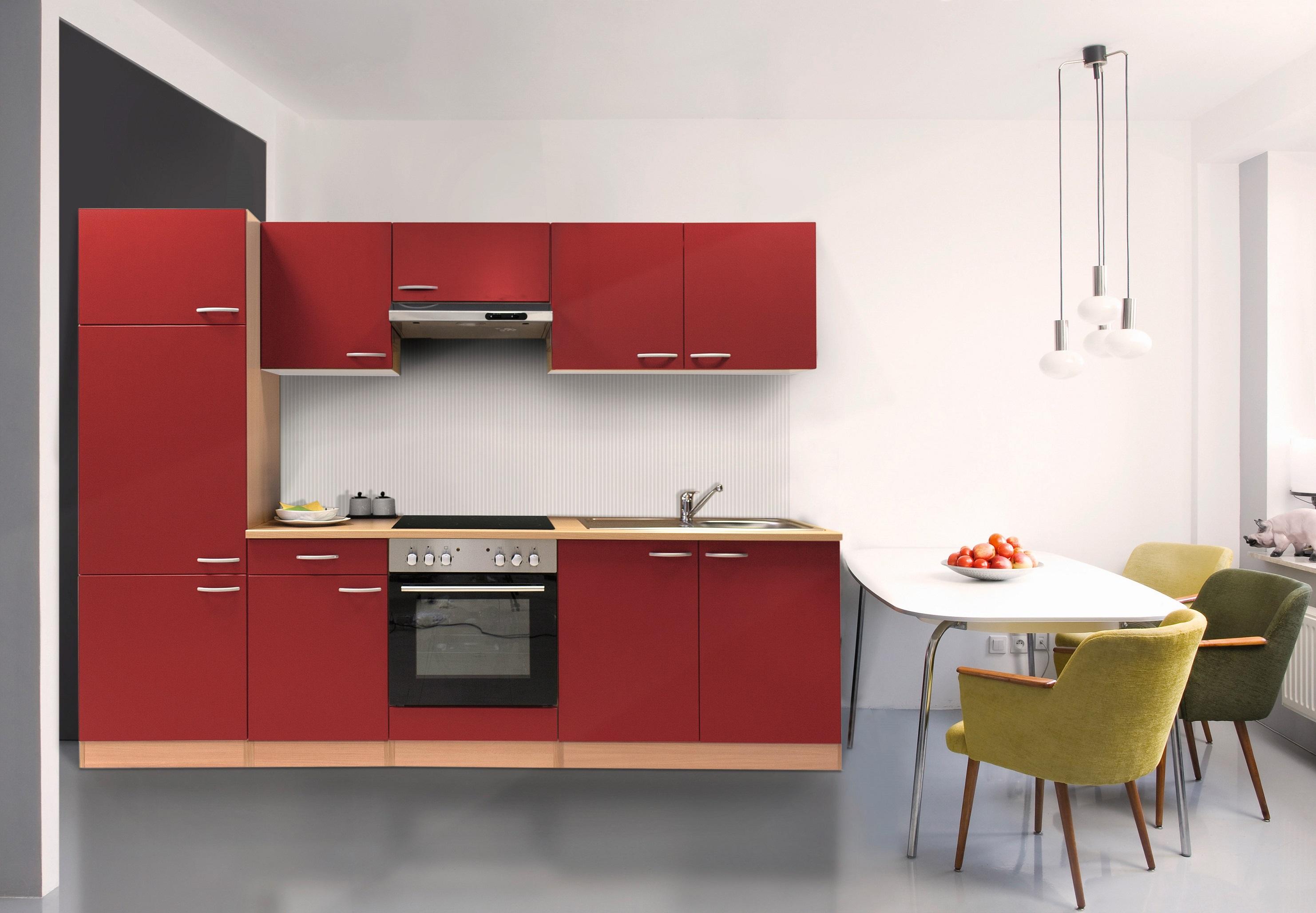k che k chenzeile k chenblock einbauk che komplettk che 270cm buche rot respekta ebay. Black Bedroom Furniture Sets. Home Design Ideas