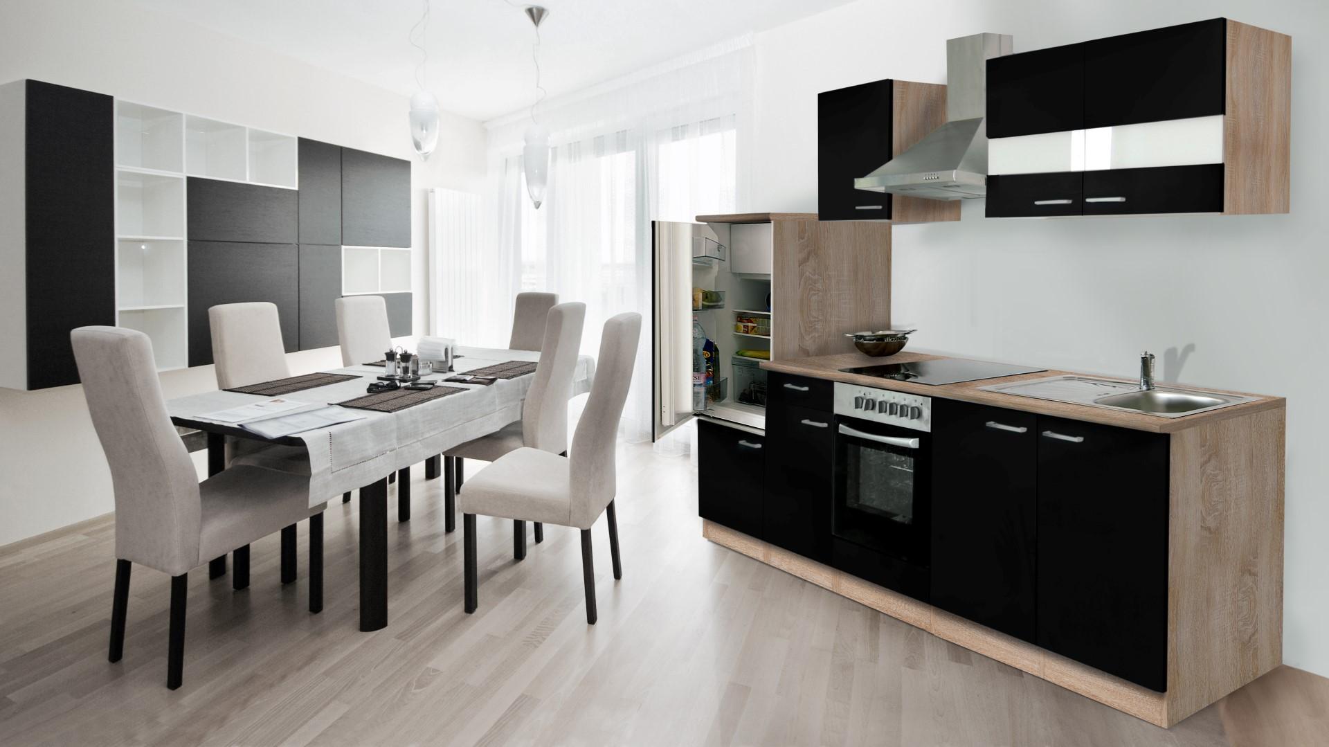 Dettagli su Cucinino Cucina Blocco Cucina Cucina Incasso 270 cm Rovere  Sonoma Nero respekta